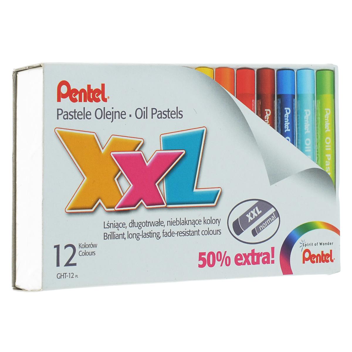 Пастель масляная Pentel XXL, 12 цветовC13S041944Пастель масляная Pentel XXL изготовлена из натуральных компонентов и не содержит вредных примесей. Соответствует европейскому стандарту качества EN71, утвержденному для детских товаров. Пастелью можно рисовать в любой технике (в сочетании с цветными карандашами, красками). При работе пастелью лучше использовать шероховатые поверхности - специальные бумаги, картон, холст. Пастель отличают яркие долговечные цвета, стойкие к воздействию света. Для удобства использования краски имеют форму мелков с увеличенным диаметром. Длина мелка: 6 см. Диаметр мелка: 1 см. Количество цветов: 12.
