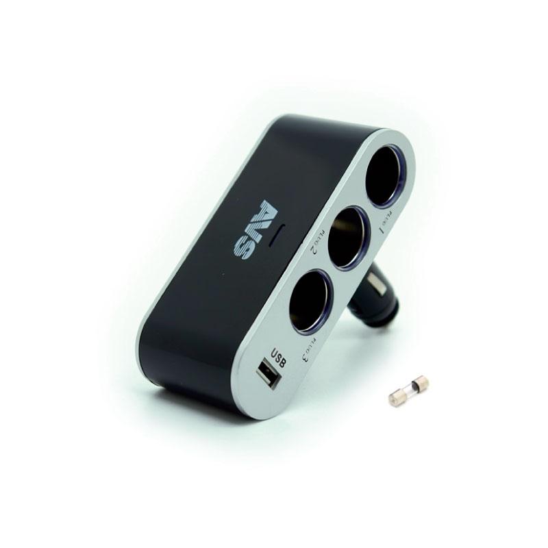 Разветвитель прикуривателя AVS CS312U, со светодиодной подсветкой, 3 выхода + USB, 12/24ВCA-3505Разветвитель прикуривателя AVS CS312U, изготовленный из высокопрочного тугоплавкого пластика, позволяет подключать одновременно 3 прибора к автомобильной сети. Также оснащен USB-выходом. Предназначен для автомобилей с напряжением бортовой сети 12/24В. Разветвитель оснащен светодиодным индикатором сети. Имеет защиту от короткого замыкания - плавкий предохранитель в корпусе штекера. Надежно фиксируется в гнезде прикуривателя и подходит для всех автомобилей.