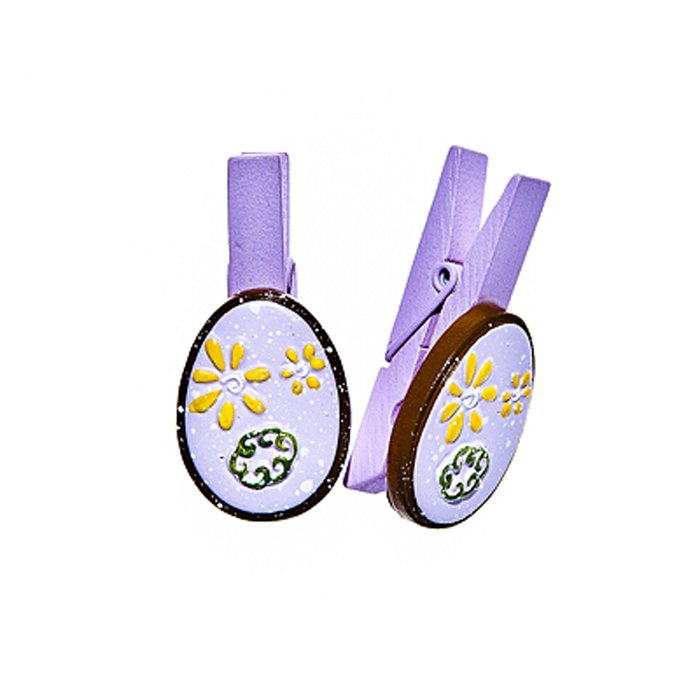 Набор декоративных прищепок Home Queen Весенние цветы, цвет: фиолетовый, 6 штC0042416Набор Home Queen Весенние цветы состоит из шести декоративных прищепок. Прищепки выполнены из высококачественного дерева и декорированы фигурками яиц, выполненных из полирезины и украшенных рельефом. Изделия используются для развешивания стикеров на веревке, маленьких игрушек, а оригинальность и веселые цвета прищепок будут радовать глаз и поднимут настроение.Длина прищепки: 4,5 см. Размер фигурки: 3 см х 0,5 см х 2,2 см.