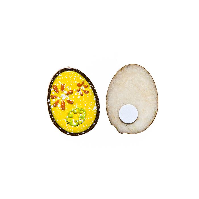 Набор декоративных украшений для яиц Home Queen Праздник, на клейкой основе, цвет: желтый, 6 штC0042416Набор Home Queen Праздник состоит из шести декоративных элементов и предназначен для украшения яиц, посуды, стекла, керамики, металла, цветочных горшков, ваз и других предметов интерьера. Украшения изготовлены из высококачественной полирезины в виде яиц и фиксируются при помощи специальной клейкой основы. Такой набор украшений создаст атмосферу праздника в вашем доме. Размер фигурки: 3 см х 0,5 см х 2,2 см.