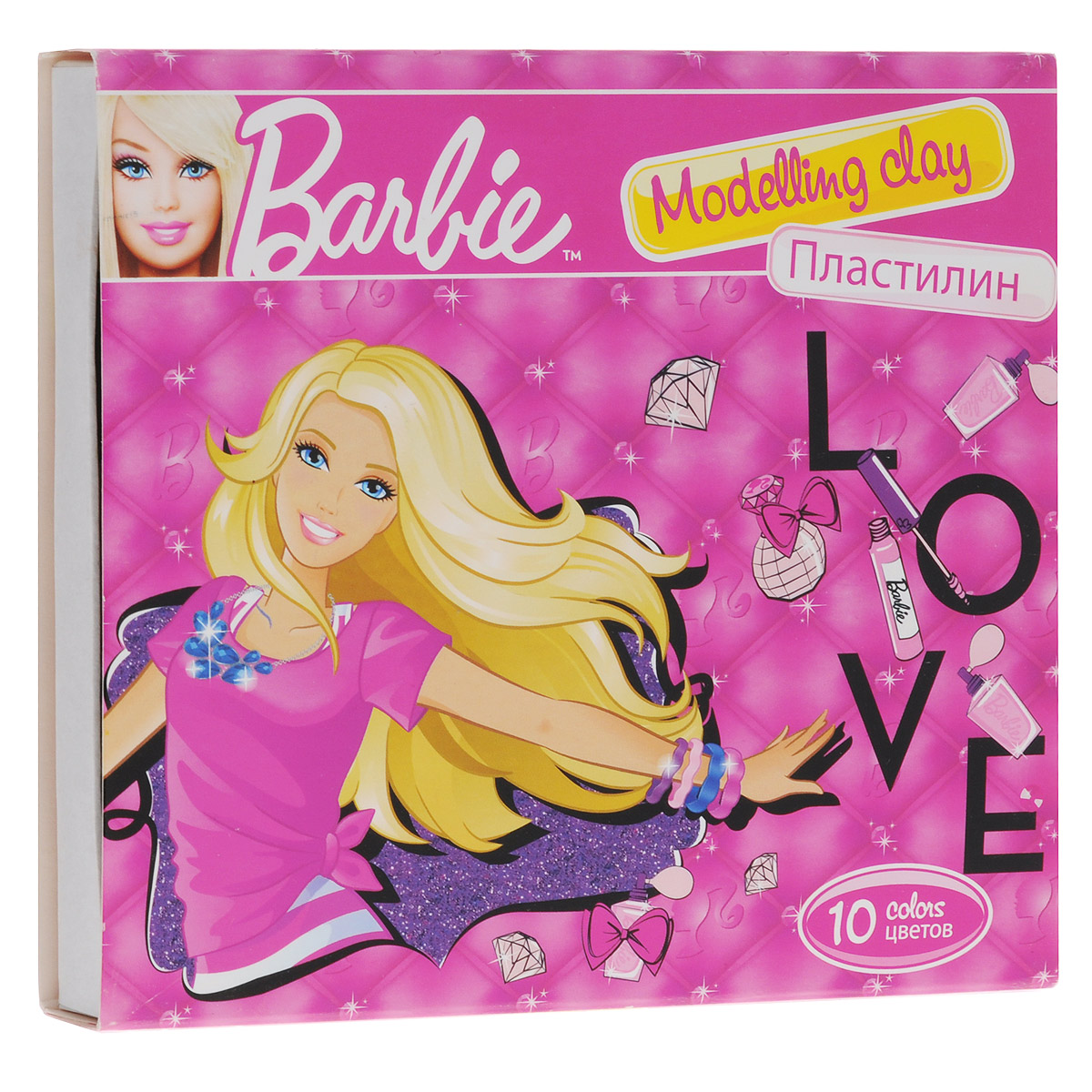 Пластилин Barbie, 10 цветов32711Пластилин Barbie - это отличная возможность познакомить ребенка с еще одним из видов изобразительного творчества, в котором создаются объемные образы и целые композиции. В набор входит пластилин 10 ярких цветов (красный, темно-зеленый, черный, светло-зеленый, белый, желтый, синий, коричневый, голубой, лиловый), а также пластиковый стек для нарезания пластилина.Цвета пластилина легко смешиваются между собой, и таким образом можно получить новые оттенки. Пластилин имеет яркие, красочные цвета и не липнет к рукам.Техника лепки богата и разнообразна, но при этом доступна даже маленьким детям. Занятия лепкой не только увлекательны, но и полезны для ребенка. Они способствуют развитию творческого и пространственного мышления, восприятия формы, фактуры, цвета и веса, развивают воображение и мелкую моторику.