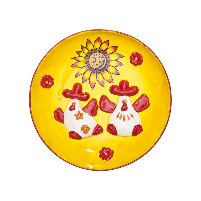 Тарелка декоративная Home Queen Русские узоры, диаметр 16 см54 009318Декоративная тарелка Home Queen Русские узоры выполнена из высококачественной керамики, покрытой слоем сверкающей глазури. Изделие оформлено красочным рельефом в виде двух забавных курочек. Такая тарелочка станет оригинальным украшением праздничного стола на Пасху.