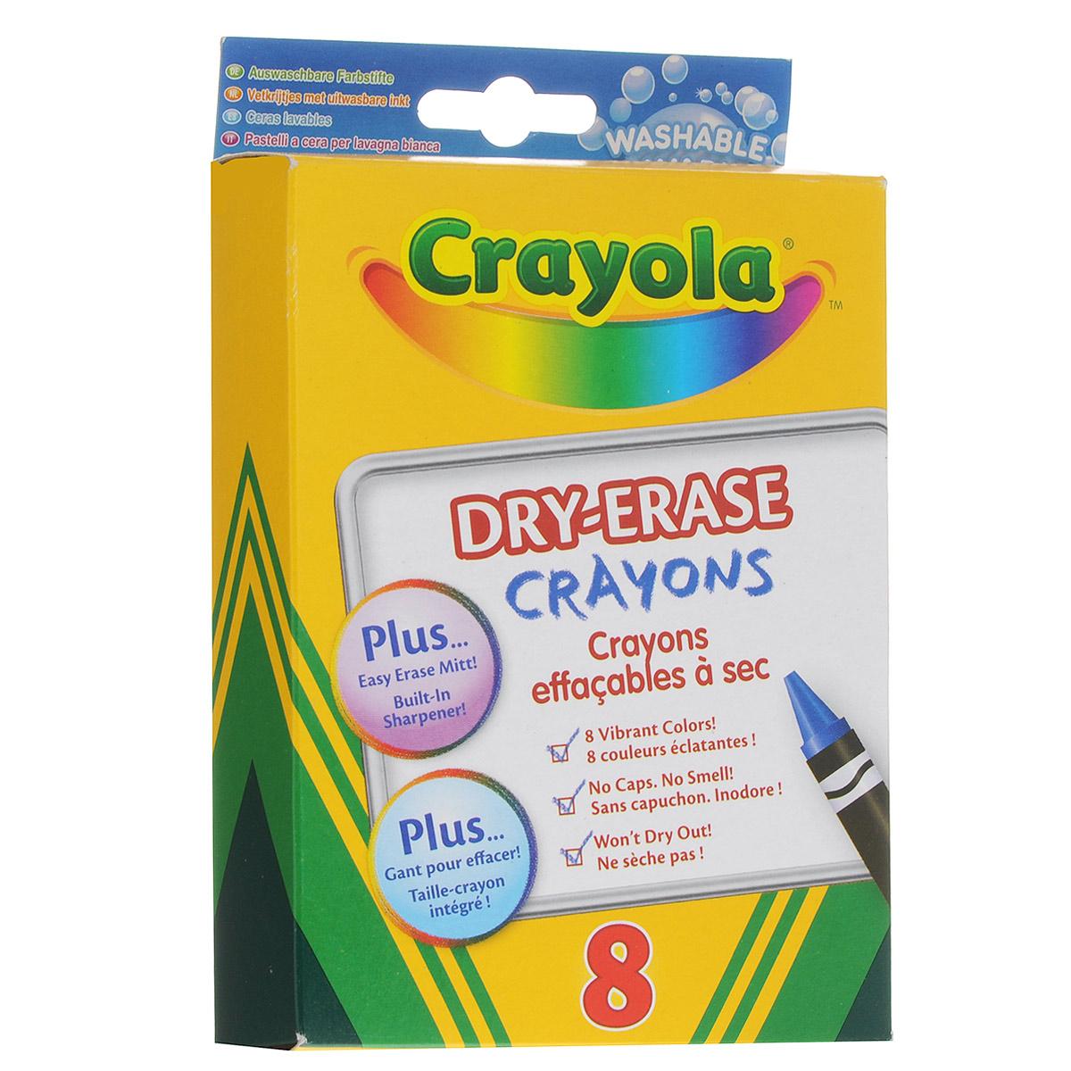 Восковые мелки Crayola Dry-Erase Crayons, 8 цветовFS-36055Восковые мелки Crayola Dry-Erase Crayons созданы специально для самых маленьких художников. Мелки обеспечивают удивительно мягкое письмо, не ломаются, обладают отличными кроющими свойствами. В изготовлении мелков использовались абсолютно безопасные натуральные материалы.Мелки окрашены в яркие, насыщенные цвета, которые так нравятся малышам. Желтый, красный, оранжевый, зеленый, синий, черный, коричневый и фиолетовый - восковые мелки позволят создавать малышу на бумаге самые красочные рисунки. Кроме того, эти мелки с легкостью могут быть смыты с любых поверхностей. Поэтому родителям не придется беспокоиться в моменты, когда их ребенок захочет проявить во всю свою творческую натуру! В комплект также входит текстильный платочек черного цвета. Восковые мелки Crayola Dry-Erase Crayons помогают малышам развить мелкую моторику ручек, координацию движений, воображение и творческое мышления, стимулируют цветовое восприятие, а также способствуют самовыражению.