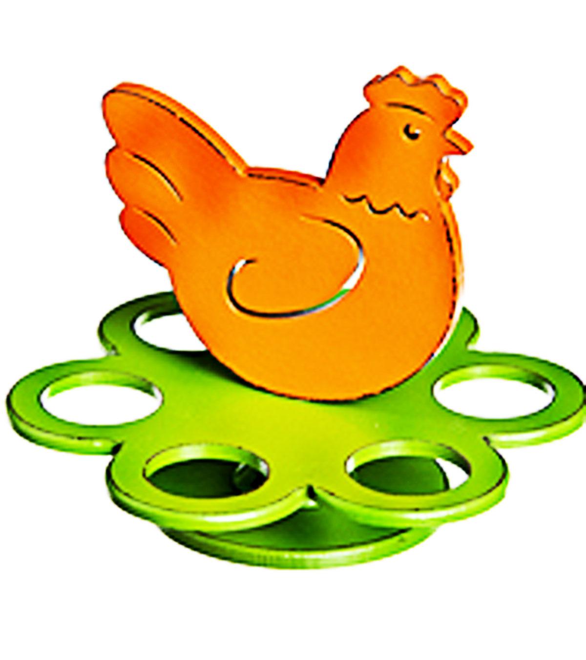 Подставка под яйца Home Queen Курочка, цвет: зеленый, оранжевый, 6 ячеек115510Подставка Home Queen Курочка станет оригинальным украшением праздничного стола на Пасху. Подставка изготовлена из дерева и служит держателем для яиц. Изделие выполнено в виде забавной курочки на подставке с 6 ячейками для яиц. Подставка Курочка может стать красивым пасхальным подарком для друзей или близких. Размер подставки: 18,5 см х 18,5 см х 15 см. Диаметр ячейки: 4 см.
