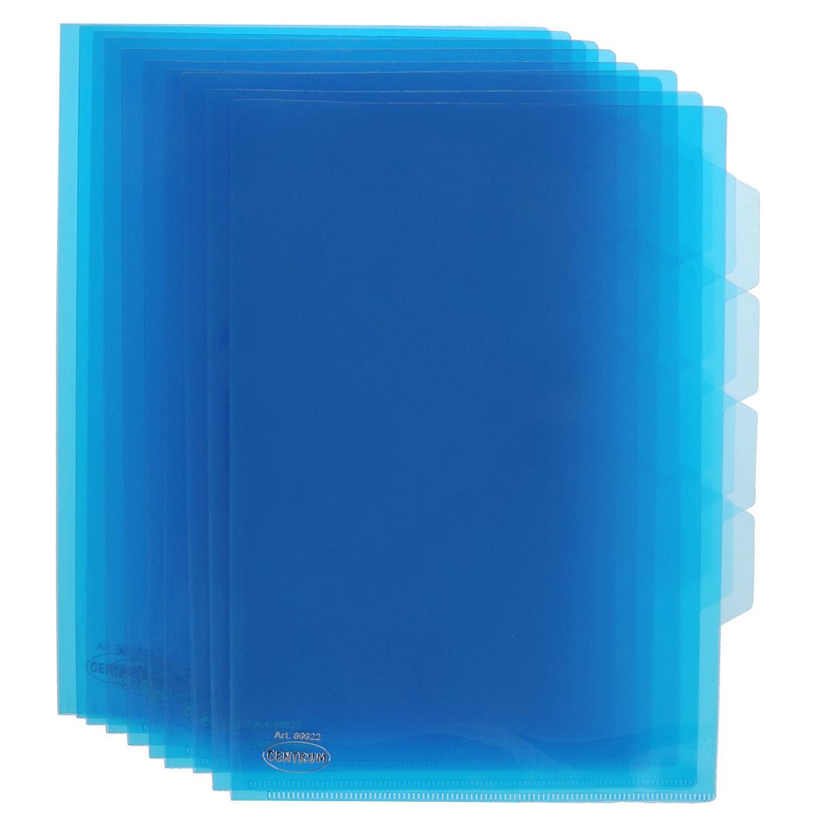 Папка-уголок Сentrum, 3 отделения, цвет: синий. Формат А4, 10 штAC-1121RDПапка-уголок Centrum - это удобный и практичный офисный инструмент, предназначенный для хранения и транспортировки рабочих бумаг и документов формата А4. Папка изготовлена из прозрачного глянцевого пластика, имеет три отделения с индексами-табуляторами. В комплект входят 10 папок формата А4. Папка-уголок - это незаменимый атрибут для студента, школьника, офисного работника. Такая папка надежно сохранит ваши документы и сбережет их от повреждений, пыли и влаги.