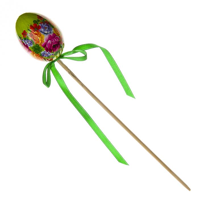 Декоративное украшение на ножке Home Queen Народное искусство, цвет: зеленый, высота 26 смC0042416Декоративное украшение Home Queen Народное искусство выполнено из пластика в виде пасхального яйца на деревянной ножке, декорированного цветочным орнаментом. Изделие украшено текстильной лентой. Такое украшение прекрасно дополнит подарок для друзей или близких. Высота: 26 см. Размер яйца: 6 см х 4,5 см.