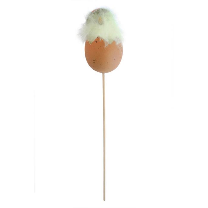 Декоративное пасхальное украшение на ножке Home Queen Цыпленок в скорлупе, цвет: коричневый, белый, высота 26 см. 57162_3RSP-202SУкрашение пасхальное Home Queen Цыпленок в скорлупе изготовлено из пластика, пенопласта и перьев и предназначено для украшения праздничного стола. Украшение выполнено в виде цыпленка, сидящего в скорлупке, на деревянной шпажке.Такое украшение прекрасно дополнит подарок для друзей и близких на Пасху.Высота: 26 см. Размер декоративной фигурки: 4,5 см х 4,5 см х 7 см.