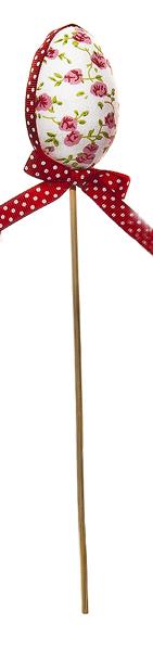 Декоративное пасхальное украшение на ножке Home Queen Яйцо с лентой, цвет: красный, высота 26 см. 64174_3702578Украшение пасхальное Home Queen Яйцо с лентой изготовлено из пенопласта и полиэстера и предназначено для украшения праздничного стола. Украшение выполнено в виде пасхального яйца, декорированного цветочным узором и текстильной лентой, на деревянной шпажке.Такое украшение прекрасно дополнит подарок для друзей и близких на Пасху.Высота: 26 см. Размер декоративной фигурки: 4,5 см х 4,5 см х 6 см.