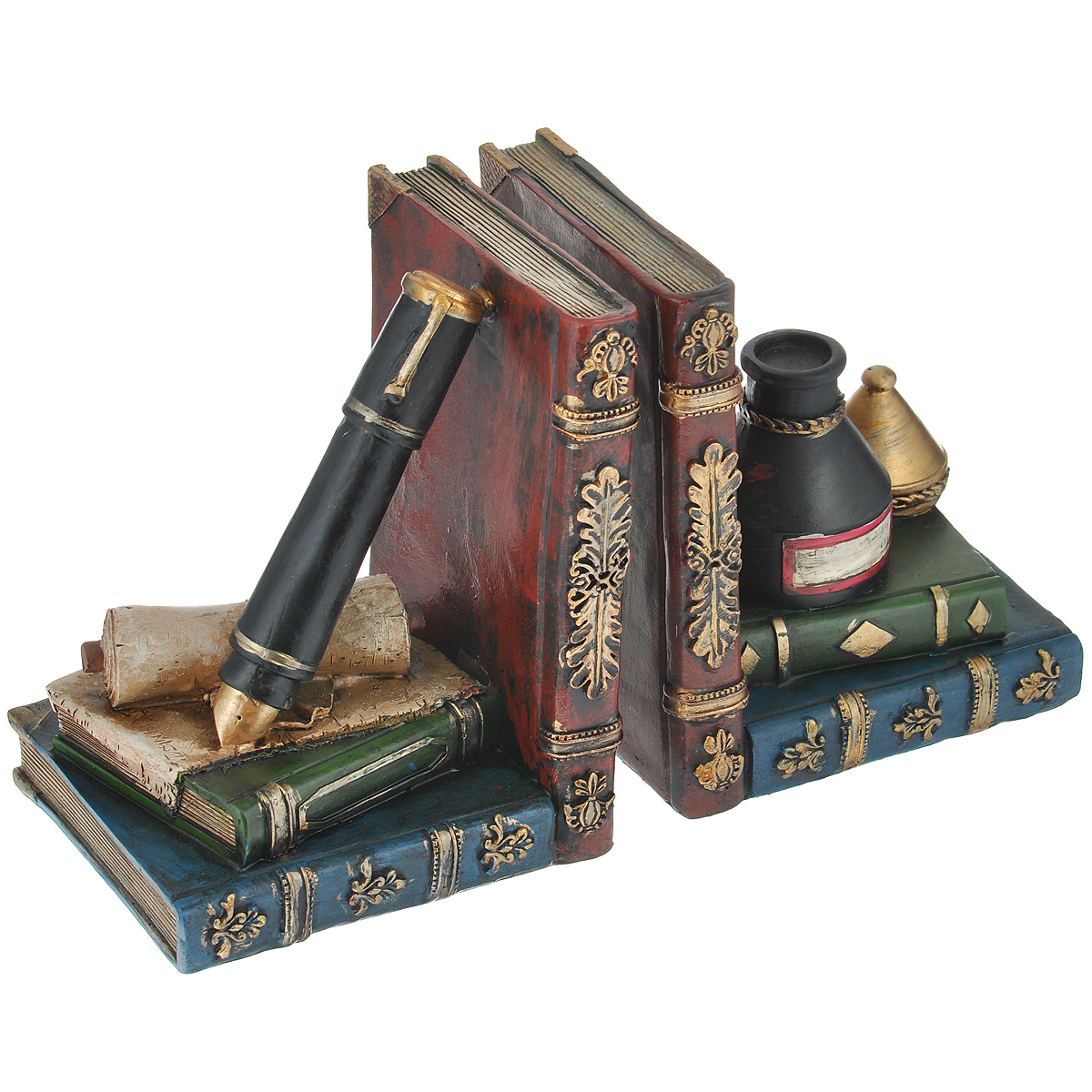 Декоративная подставка-ограничитель для книг Феникс-презент Алхимия, 2 шт36127Подставка-ограничитель для книг Алхимия, изготовленная из полирезины, состоит из двух частей, с помощью которых можно подпирать книги с двух сторон. Изделия выполнены в виде книг, пера и чернил. Между ограничителями можно поместить неограниченное количество книг. Подставка-ограничитель для книг Алхимия - это не только подставка для книг, но и интересный элемент декора, который ярко дополнит интерьер помещения. Размер одной части подставки-ограничителя: 13 см х 11 см х 15,5 см.Комплектация: 2 шт.