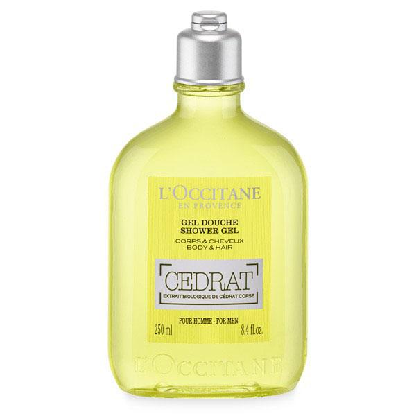 LOccitane Гель для душа Cedrat 250 млZ3308Гель для мытья тела и волос с оттенком жёлтого цитрона хорошо очищает и заряжает энергией тело и волосы.