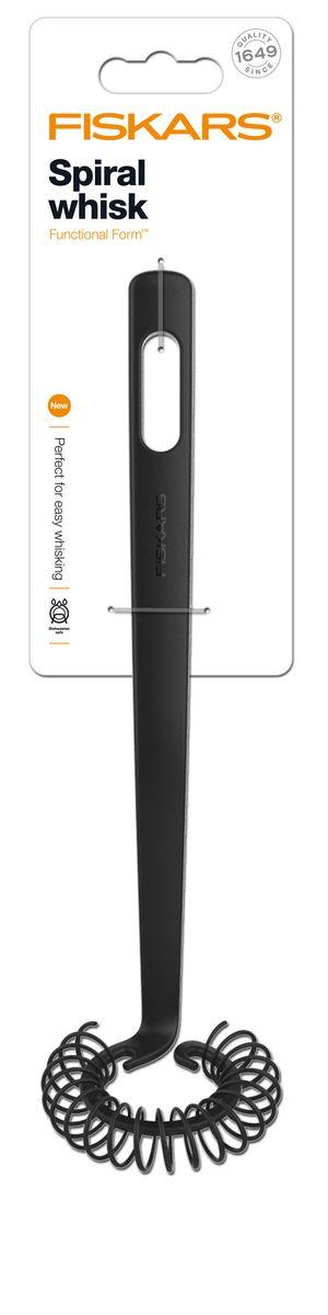 Венчик спиралевидный Fiskars, длина 27 см2100071427Венчик Fiskars станет верным помощником на вашей кухне. Предназначен для взбивания кулинарных смесей. Рабочая поверхность изготовлена из высококачественного силикона. Рукоятка, оснащенная отверстием для подвешивания на крючок, выполнена из особопрочной пластмассы с покрытием Softouch. Венчик Fiskars станет прекрасным дополнением к коллекции ваших кухонных аксессуаров. Можно мыть в посудомоечной машине.Длина венчика: 27 см. Размер рабочей части: 7 см х 6,5 см х 2 см.