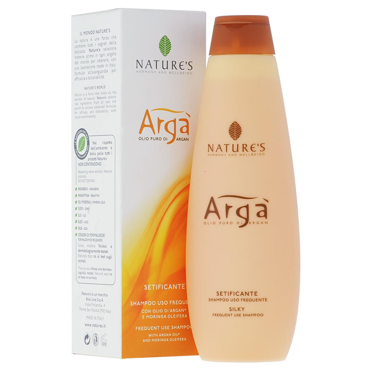 Шампунь Natures Arga, для частого использования, 200 мл81601104Шампунь Natures Arga рекомендуется для ухода за поврежденными, слабыми, тонкими волосами. Шампунь обладает восстанавливающим, антистрессовым эффектом. Питает, увлажняет, наполняет волосы силой, оставляя их мягкими, шелковистыми и сияющими. Тонизирует и успокаивает кожу головы. Благодаря эфирному маслу лицеи, придает приятное ощущение свежести и благополучия. Предназначен для частого использования.Характеристики:Объем: 200 мл.Производитель: Италия. Артикул:60150903. Товар сертифицирован.