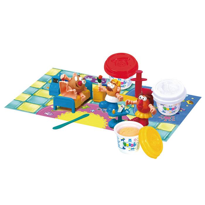 Playgo Набор для лепки Doctor Dough72523WDНабор для лепки Playgo Doctor Dough представляет собой сочетание моделирования и игры. Набор включает в себя: 3 баночки массы для лепки по 56 г (красный, желтый, белый), стек для моделирования, 1 шприц для выдавливания, набор мебели из 4 предметов, набор пластиковых частей и аксессуаров для создания игрушек, игровая фоновая сцена. Входящая в набор пластилиновая масса разработана специально для детей, очень мягкая, приятно пахнет, ее не надо разминать перед лепкой.Пластилин быстро высыхает, не имеет запаха, не липнет к рукам и одежде, легко смывается, а так же легко смешивается, что позволяет получать новые цвета. На крышечках баночек имеются трафареты с помощью которых ваш ребенок сможет легко самостоятельно сделать фигурку. Стек выполнен из пластика и не имеет острых концов, что безопасно для вашего малыша. С его помощью он сможет легко и быстро разрезать массу. Фигурный шприц для выдавливания поможет вашему малышу легко создать детали в форме узких палочек. Набор пластиковых частей и аксессуаров для создания игрушек и игровая фоновая сцена помогут оживить получившиеся фигурки.Работа с пластилином развивает мелкую моторику пальцев малыша, пространственное воображение, фантазию.