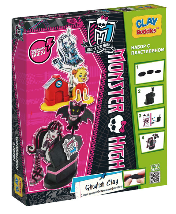 Giromax Набор для лепки Monster High. Ghoulish Clay2010440Набор для лепки Giromax Monster High. Ghoulish Clay представляет собой сочетание моделирования и игры. Набор включает в себя: 6 плиток пластилина (черный, желтый, красный), игровая фоновая сцена, 2 карточки с картонными деталями, 2 листа липучек, иллюстрированная книжка с инструкциями и заданиями. Входящая в набор пластилиновая масса разработана специально для детей, очень мягкая, приятно пахнет, ее не надо разминать перед лепкой.Пластилин быстро высыхает, не имеет запаха, не липнет к рукам и одежде, легко смывается.Используя пластилин и картонные формочки, малыш сможет самостоятельно вылепить фигурки любимых героев - Фрэнки Штейн и Дракулауры, а с помощью игровой фоновой сцены созданные игрушки оживут. Работа с пластилином развивает мелкую моторику пальцев малыша, пространственное воображение, фантазию.