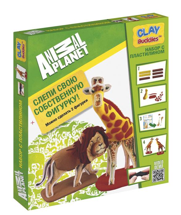 Giromax Набор для лепки Animal Planet33298Набор для лепки Giromax Animal Planet представляет собой сочетание моделирования и игры. Набор включает в себя: 6 плиток пластилина (кирпичный, коричневый, светло-коричневый, желтый), игровая фоновая сцена, 2 карточки с картонными деталями, 2 листа липучек, иллюстрированная книжка с инструкциями и заданиями. Входящая в набор пластилиновая масса разработана специально для детей, очень мягкая, приятно пахнет, ее не надо разминать перед лепкой.Пластилин быстро высыхает, не имеет запаха, не липнет к рукам и одежде, легко смывается.Используя пластилин и картонные формочки, малыш сможет самостоятельно вылепить фигурки жирафа и льва, а с помощью игровой фоновой сцены созданные игрушки оживут. Работа с пластилином развивает мелкую моторику пальцев малыша, пространственное воображение, фантазию.