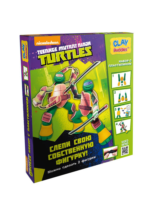 Giromax Набор для лепки Teenage Mutant Ninja Turtles72523WDНабор для лепки Giromax Teenage Mutant Ninja Turtles представляет собой сочетание моделирования и игры. Набор включает в себя: 6 плиток пластилина (зеленый, желтый), игровая фоновая сцена, 2 карточки с картонными деталями, 2 листа липучек, иллюстрированная книжка с инструкциями и заданиями. Входящая в набор пластилиновая масса разработана специально для детей, очень мягкая, приятно пахнет, ее не надо разминать перед лепкой.Пластилин быстро высыхает, не имеет запаха, не липнет к рукам и одежде, легко смывается.Используя пластилин и картонные формочки, малыш сможет самостоятельно вылепить фигурки любимых героев - Леонардо и Микеланджело, а с помощью игровой фоновой сцены созданные игрушки оживут. Работа с пластилином развивает мелкую моторику пальцев малыша, пространственное воображение, фантазию.