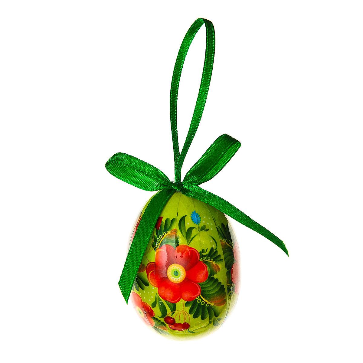 Декоративное подвесное украшение Home Queen Народная роспись, цвет: зеленый66755_2Подвесное украшение Home Queen Народная роспись, выполненное в форме яйца, изготовлено из пластика и декорировано цветочным орнаментом. Изделие оснащено петелькой для подвешивания.Такое украшение прекрасно оформит интерьер дома или станет замечательным подарком для друзей и близких на Пасху. Размер яйца: 4 см х 4 см х 6 см.