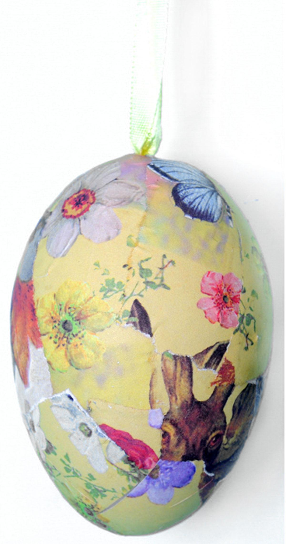 Декоративное подвесное украшение Home Queen Винтаж60785Подвесное украшение Home Queen Винтаж, выполненное в форме яйца, изготовлено из пластика и бумаги и декорировано рисунком в стиле винтаж. Изделие оснащено текстильной петелькой для подвешивания.Такое украшение прекрасно оформит интерьер дома или станет замечательным подарком для друзей и близких на Пасху. Размер яйца: 5,5 см х 5,5 см х 8 см.