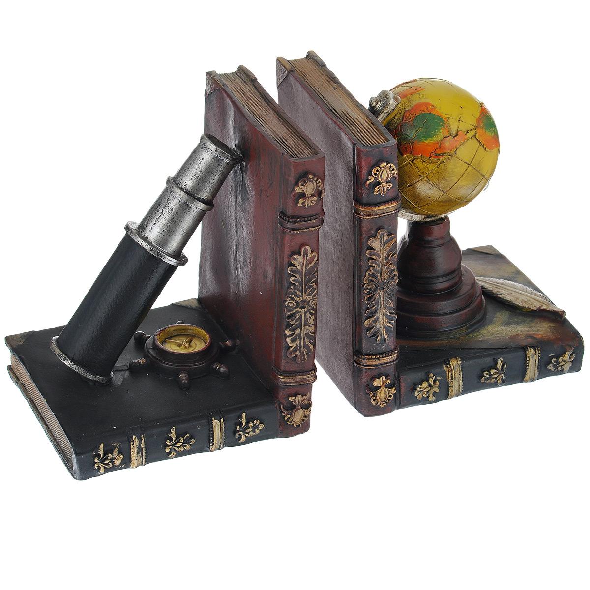 Подставка-ограничитель для книг Навигация, 2 шт54 009312Подставка-ограничитель для книг Навигация изготовлена из полирезины. В комплект входит два ограничителя. Изделия выполнены в виде глобуса и подзорной трубы, стоящие на постаменте из книг. Между ограничителями можно поместить неограниченное количество книг. Подставка-ограничитель для книг Навигация  - это не только подставка для книг, но и интересный элемент декора, который ярко дополнит интерьер помещения. Размер подставки-ограничителя: 12,5 см х 10,5 см х 15,5 см.Комплектация: 2 шт.