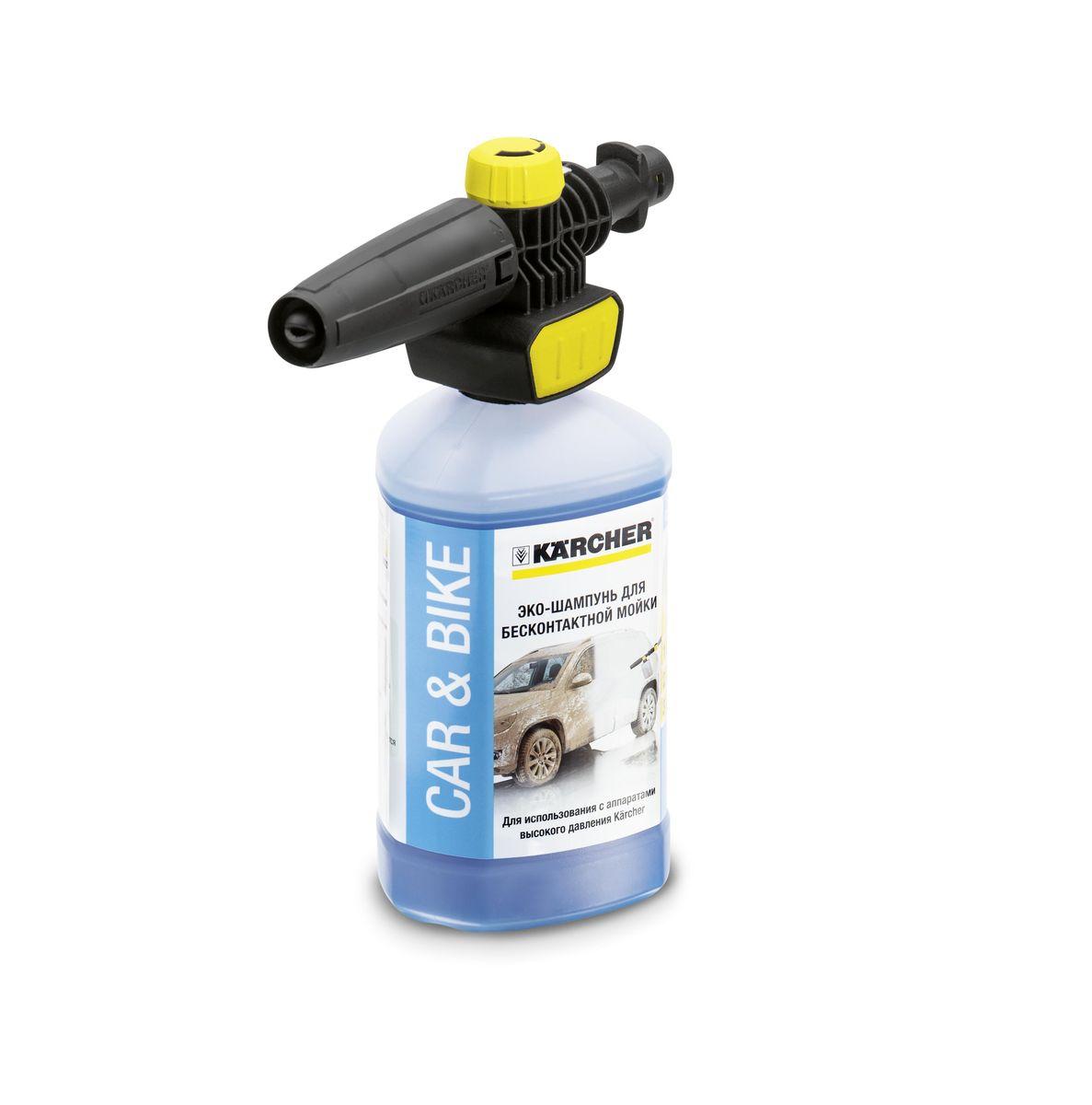 Набор Karcher FJ 10 С, с насадкой Connect n Clean, 2 предмета 2.643-142.02.643-142.0Набор Karcher FJ 10 С с насадкой Connect n Clean образует густую пену, которая поможет отмыть загрязненные мотоциклы, автомобили. С помощью насадки Connect n Clean также можно обрабатывать каменные и деревянные поверхности. Используется для аппаратов высокого давления Karcher классов K2-K7. В набор входит эко-шампунь для бесконтактной мойки. Преимущества использования набора Karcher FJ 10 С: механизм насадки Connect n Clean для удобного применения и быстрой замены чистящего средства, дополнительный усилитель пенообразования для более интенсивной очистки, шампунь не содержит фосфатов и не повреждает поверхности. Преимущества пенного сопла Karcher FJ 10 С:регулировка плоскости распыления,дозировка чистящего средства,регулировка угла распыления, регулировка струи (от узкой до широкой). Максимальное давление: 160 бар.Максимальная температура: 60°С. Объем эко-шампуня: 1 л.