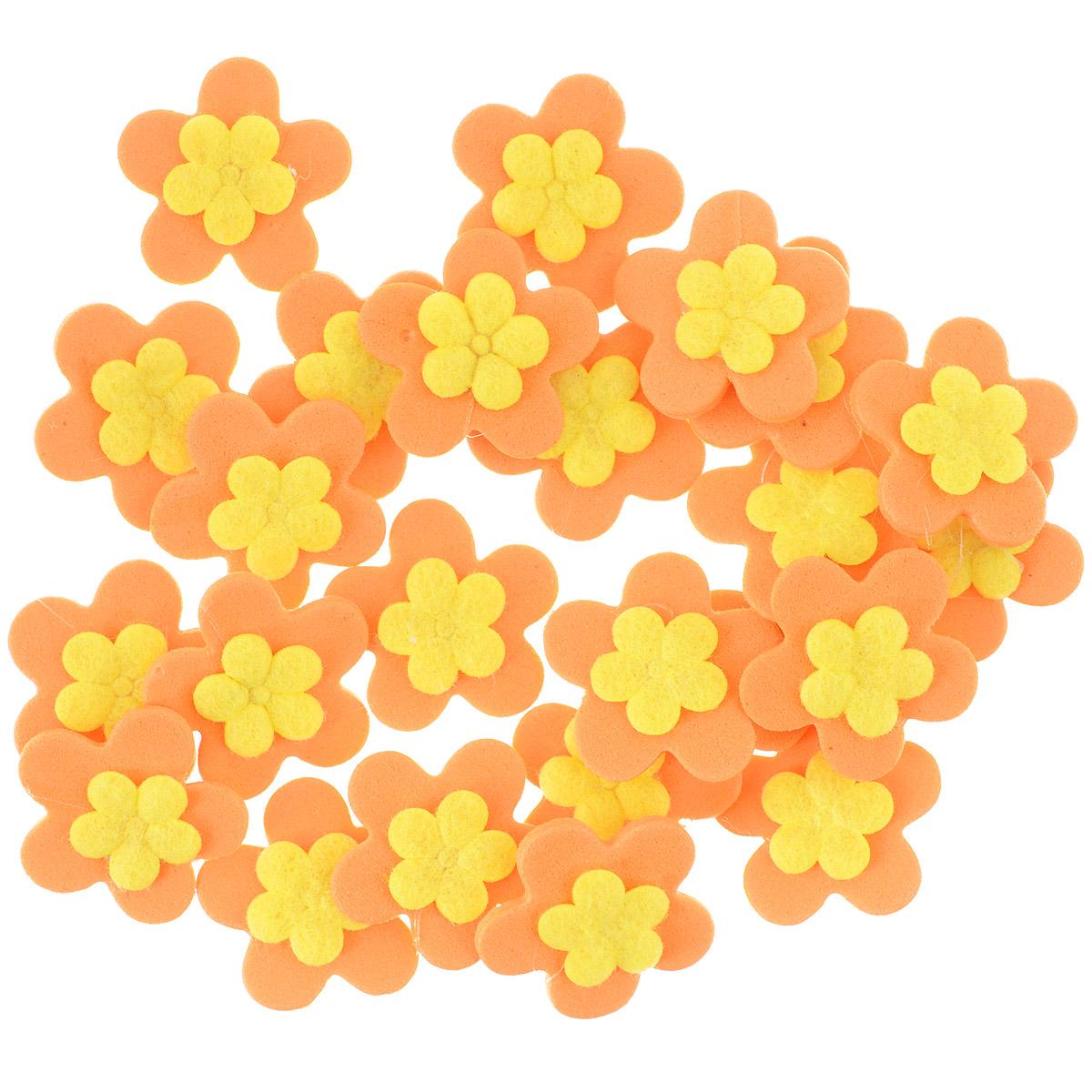 Набор декоративных украшений Home Queen Кувшинки, на клейкой основе, цвет: оранжевый, желтый, 24 шт35008Набор Home Queen Кувшинки состоит из 24 декоративных элементов и предназначен для украшения яиц, посуды, стекла, керамики, металла, цветочных горшков, ваз и других предметов интерьера. Украшения изготовлены из вспененной резины в виде цветов и фиксируются при помощи специальной клейкой основы. Такой набор украшений создаст атмосферу праздника в вашем доме. Размер фигурки: 2,3 см х 0,4 см х 2,3 см.Материал: вспененная резина.