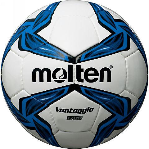 Мяч футбольный Molten, цвет: белый, черный, синий. Размер 4F4V1700Футбольный мяч Molten отлично подойдет для школьных тренировок или для отдыха. Он выполнен из прочной ПВХ синтетической кожи и сшит вручную. Долговечен, имеет яркий окрас.