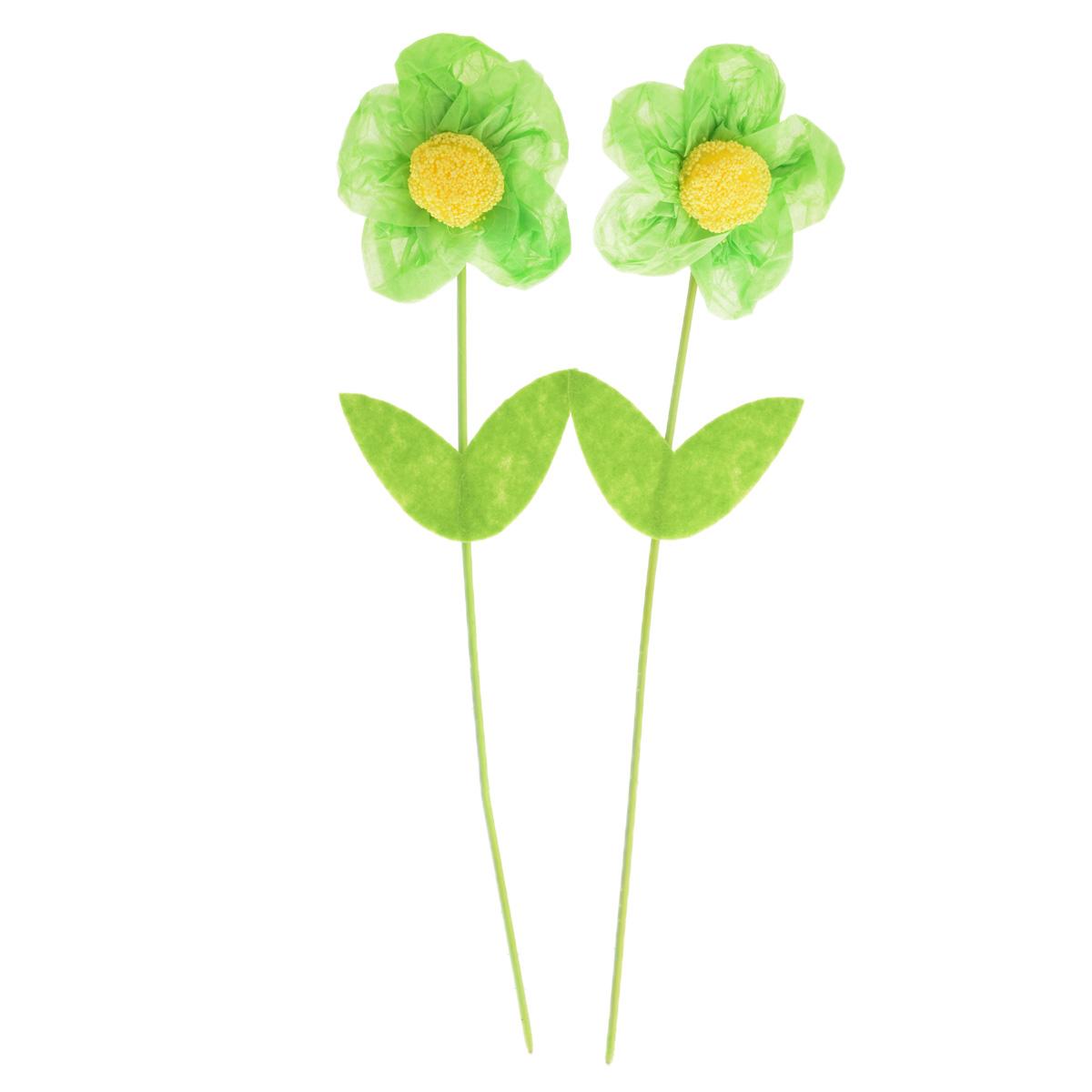 Набор декоративных украшений Home Queen Цветок, цвет: зеленый, 2 шт, высота 25 см26620Набор Home Queen Цветок состоит из двух декоративных украшений, изготовленных в виде цветов из бумаги, пластика и полиэстера. Украшения помогут вам украсить дом, а также оформить подарки для ваших близких. В стебли цветков вставлена металлическая проволока, благодаря чему они легко гнутся. С помощью таких украшений вы сможете оживить интерьер по своему вкусу.Высота цветка: 25 см.Диаметр цветка: 5,5 см.