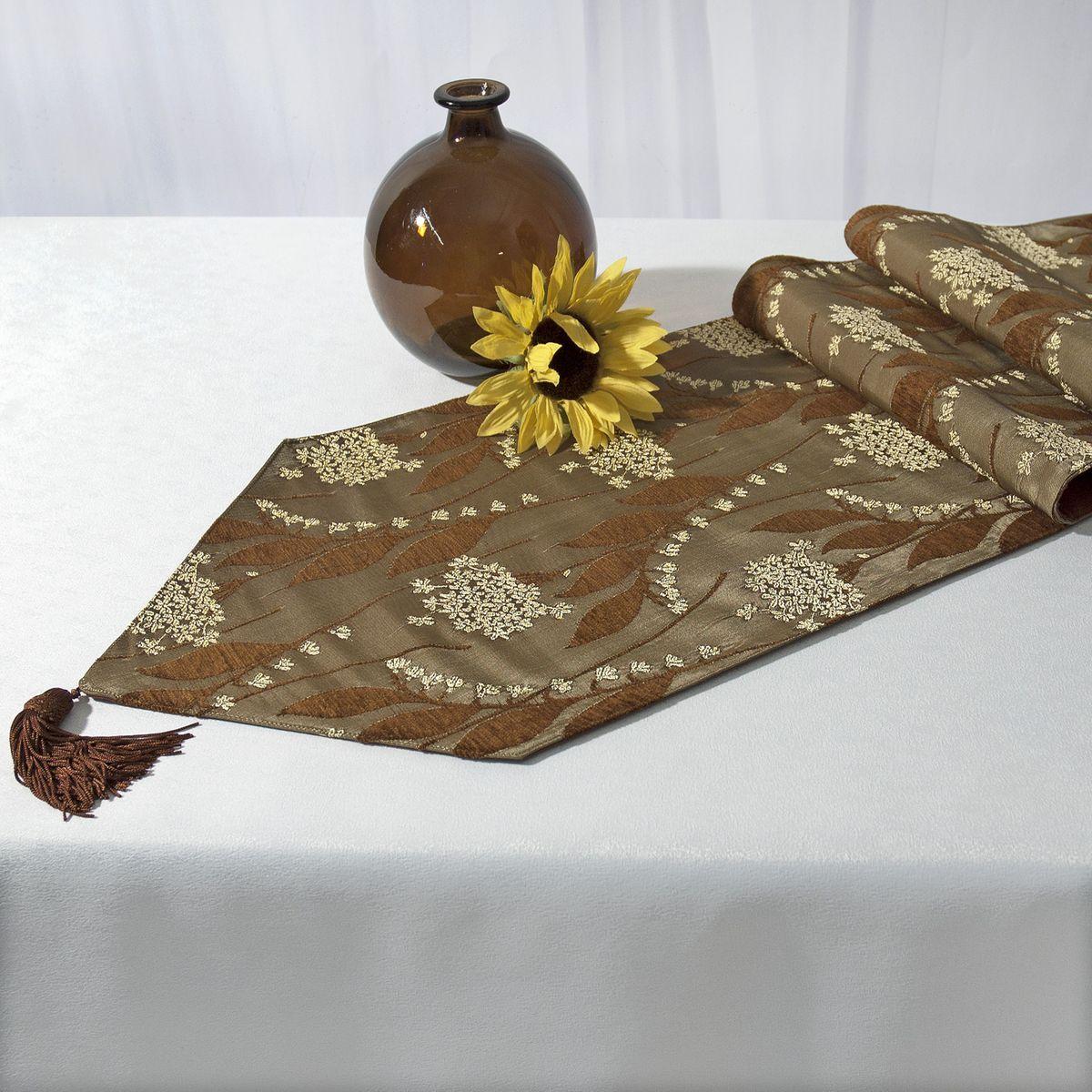 Дорожка для декорирования стола Schaefer, прямоугольная, цвет: темно-зеленый, коричневый, 30 x 170 см 06031-287VT-1520(SR)Прямоугольная дорожка Schaefer, выполненная из полиэстера (30%), вискозы (35%) и полиакрила (46%), оформлена цветочным орнаментом и украшена элегантными кистями на концах. Вы можете использовать дорожку для декорирования стола, комода или журнального столика. Это изделие будет украшением вашей квартиры или загородного дома!Благодаря такой дорожке вы защитите поверхность мебели от воды, пятен и механических воздействий, а также создадите атмосферу уюта и домашнего тепла в интерьере вашей квартиры. Изделия из искусственных волокон легко стирать: они не мнутся, не садятся и быстро сохнут, они более долговечны, чем изделия из натуральных волокон.