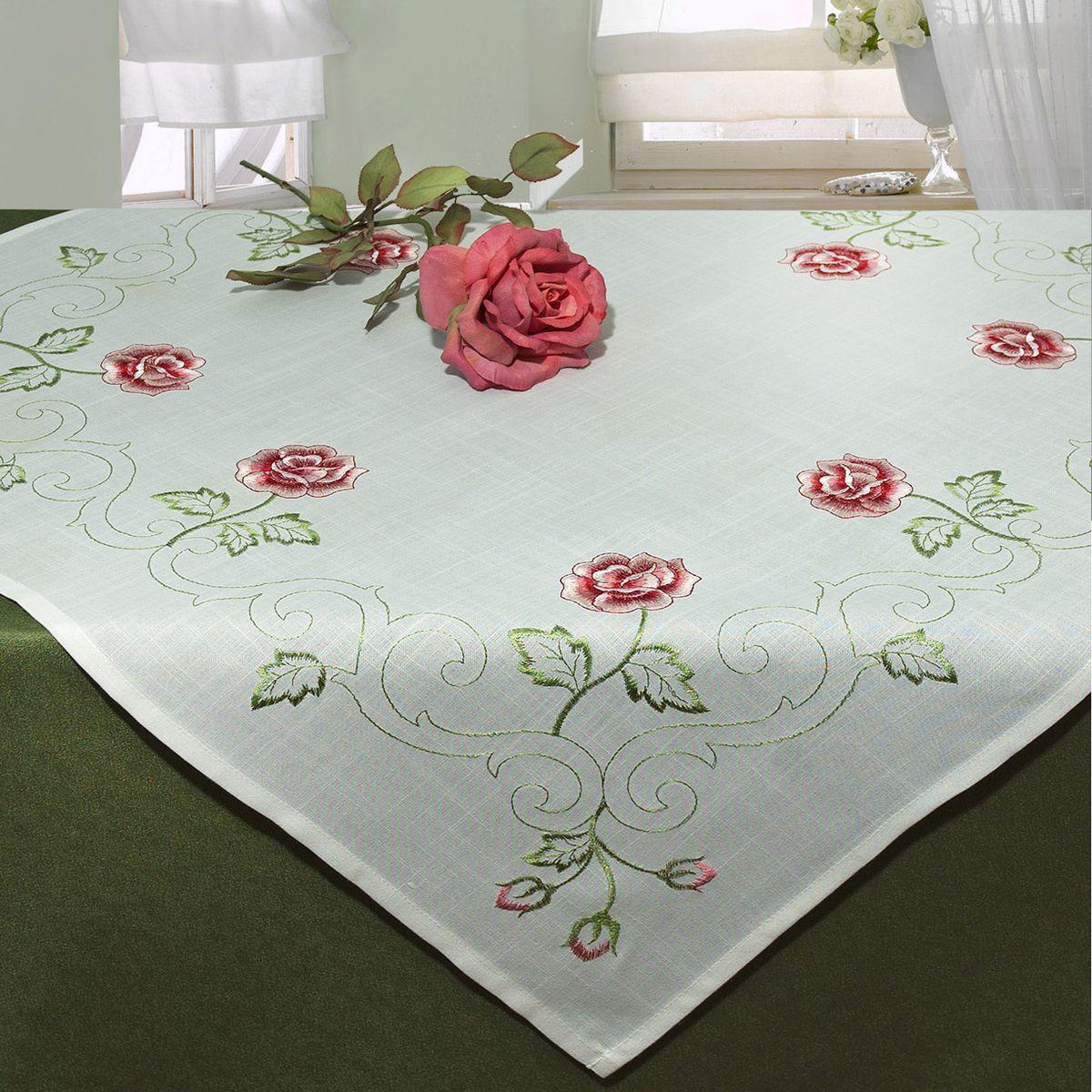 Скатерть Schaefer, квадратная, цвет: белый, 85x 85 см. 07376-100VT-1520(SR)Скатерть Schaefer выполнена из высококачественного полиэстера и оформлена вышитыми розами. Изделия из полиэстера легко стирать: они не мнутся, не садятся и быстро сохнут, они более долговечны, чем изделия из натуральных волокон. Скатерть Schaefer не останется без внимания ваших гостей, а вас будет ежедневно радовать ярким дизайном и несравненным качеством.Немецкая компания Schaefer создана в 1921 году. На протяжении всего времени существования она создает уникальные коллекции домашнего текстиля для гостиных, спален, кухонь и ванных комнат. Дизайнерские идеи немецких художников компании Schaefer воплощаются в текстильных изделиях, которые сделают ваш дом красивее и уютнее и не останутся незамеченными вашими гостями. Дарите себе и близким красоту каждый день! Изысканный текстиль от немецкой компании Schaefer - это красота, стиль и уют в вашем доме.