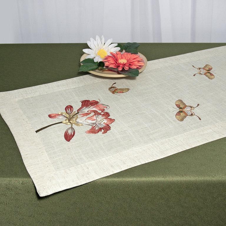 Дорожка для декорирования стола Schaefer, прямоугольная, цвет: светло-бежевый, 40 x 100 см 07529-202VT-1520(SR)Прямоугольная дорожка Schaefer выполнена из высококачественного полиэстера (80%) с добавлением льна (20%) и украшена вышивкой магнолий и бабочек, шелковыми нитями. Вы можете использовать дорожку для декорирования стола, комода или журнального столика.Благодаря такой дорожке вы защитите поверхность мебели от воды, пятен и механических воздействий, а также создадите атмосферу уюта и домашнего тепла в интерьере вашей квартиры. Изделия из искусственных волокон легко стирать: они не мнутся, не садятся и быстро сохнут, они более долговечны, чем изделия из натуральных волокон.