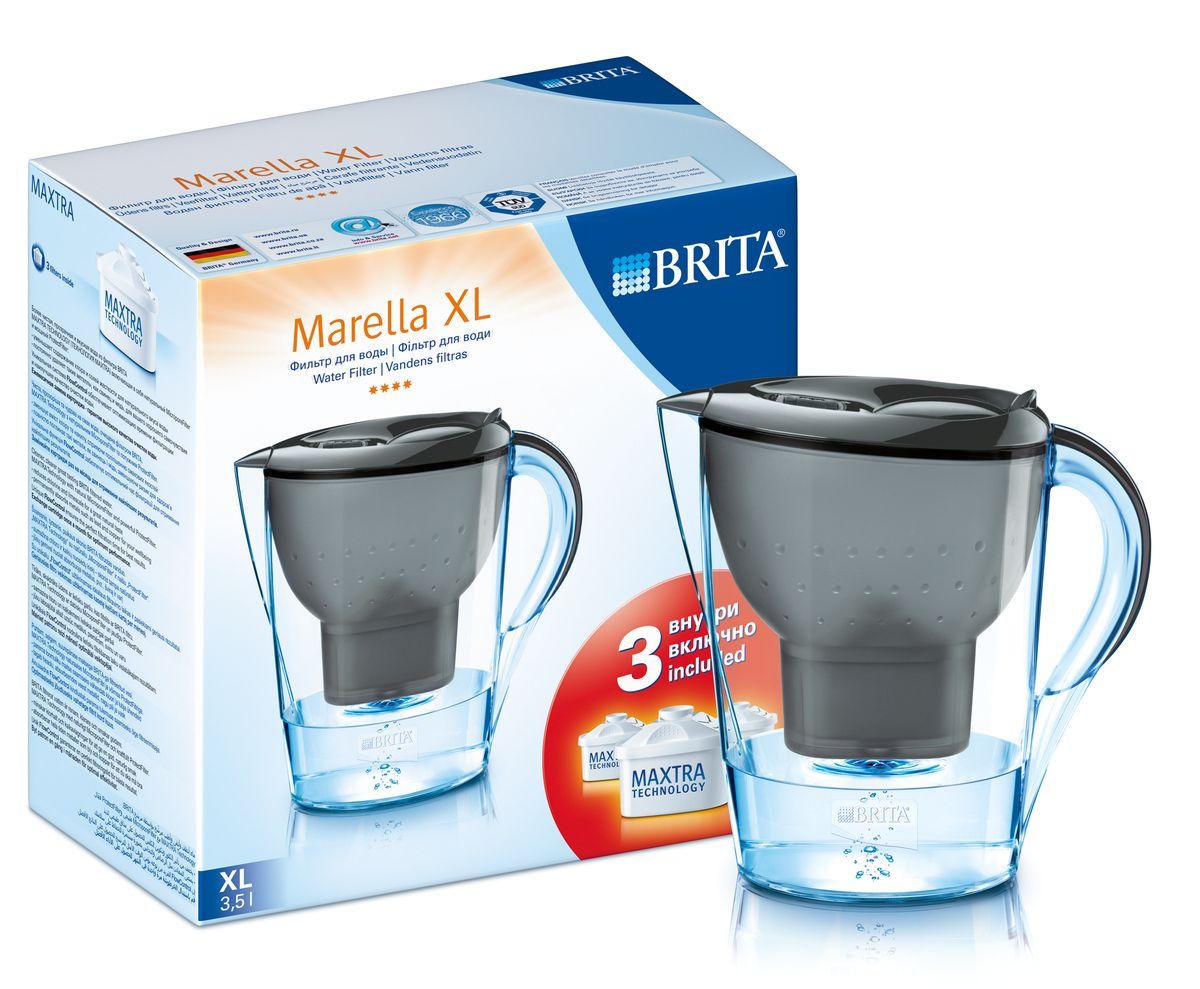 Фильтр-кувшин для воды Brita Marella XL, цвет: графитовый, 3 сменных картриджа, 3,5 л1010708Фильтр-кувшин Brita Marella XL, выполненный из пластика, станет необходимым помощником на вашей кухне. Вода, очищенная данным фильтром обладает рядом преимуществ:- улучшает вкус горячих и холодных напитков, - увеличивает срок службы бытовых приборов, препятствуя образованию накипи, - идеальна для приготовления вкусной и здоровой пищи, - придает более насыщенный вкус и аромат чаю и кофе. Технология картриджа Maxtra снижает содержание в воде таких веществ, как хлор, алюминий, тяжелые металлы (свинец и медь), некоторые пестициды и органические примеси. Также он отфильтровывает соли жесткости.Особенности данного фильтра: - только для Maxtra, - благодаря удобной функции (одним нажатием кнопки) заменить картридж очень просто, - откидная крышка в отверстии для заливки воды, - календарь: механический индикатор ресурса кассеты будет автоматически напоминать вам о необходимости заменить кассету через каждые 4 недели использования, - эргономичный дизайн, - фильтр можно мыть в посудомоечной машине (за исключением крышки).Фильтры Brita имеют уникальную систему очистки, которая помогает смягчить питьевую воду. Они предлагают идеальную возможность улучшить качество питьевой воды дома. Фильтры Brita снижают образование известкового налета. Инновации компании Brita подтверждаются значительным количеством патентов, в том числе и на международном уровне.Успех компании обуславливается постоянным расширением продуктовой линейки. Общий объем фильтра: 3,5 л.Полезный объем: 2 л.