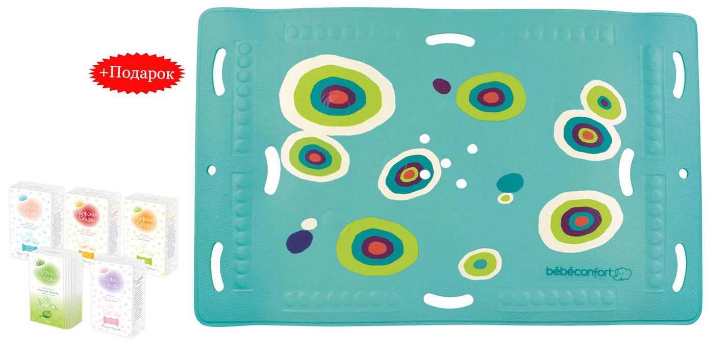 """Коврик для ванной """"Bebe Confort"""" выполнен из ПВХ имеет нескользящую поверхность и присоски, что не даст малышу поскользнуться в большой ванной. Термоиндикатор становится темно-синим, указывая на идеальную для купания температуру воды 35°C, и меняет свой цвет, когда температура становится выше. Перфорированная поверхность не позволяет воде застаиваться. К коврику для ванны прилагается подарок - набор соли для ванны """"Морская сказка"""". Купание в морской воде оздоравливает, закаляет и приносит малышу яркие позитивные эмоции. Биологически активные вещества впитываются через поры, непосредственно воздействуя на весь организм маленького человека. Морская соль смягчает водопроводную воду, обогащая ее минералами, и не допускает пересушивания нежной детской кожицы. В наборе: Соль для ванны """"Спокойный животик"""". Экстракт фенхеля - помогает устранить повышенное газообразование, снимает спазмы. Экстракт ромашки - способствует..."""