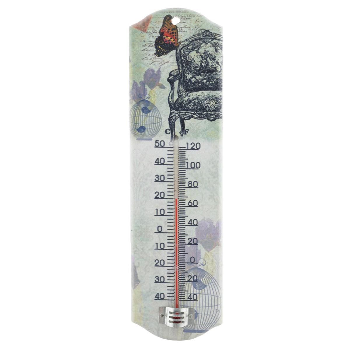 Термометр декоративный Феникс-презент, комнатный. 33738THN132NКомнатный термометр Феникс-презент, изготовленный из МДФ и стекла, декорирован изображением винтажного кресла и бабочки. Термометр имеет шкалу измерения температуры по Цельсию (-40°С - +50°С) и по Фаренгейту (-40°F - +120°F).Благодаря такому термометру вы всегда будете точно знать, насколько тепло в помещении. Изделие оснащено специальным отверстием для подвешивания.Оригинальный дизайн не оставит равнодушным никого. Термометр удачно впишется в обстановку жилого помещения, гаража или беседки. Кроме того, это актуальный подарок для человека с хорошим вкусом.Высота градусника: 14,5 см.