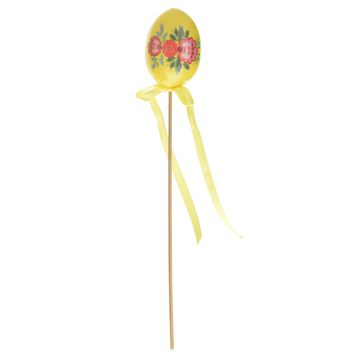 Декоративное украшение на ножке Home Queen Цветочные узоры, цвет: желтый, высота 26 см38221Декоративное украшение Home Queen Цветочные узоры выполнено из пластика в виде пасхального яйца на деревянной ножке, декорированного цветочным рисунком. Изделие украшено текстильной лентой. Такое украшение прекрасно дополнит подарок для друзей или близких на Пасху. Высота: 26 см. Размер яйца: 5,5 см х 4 см.