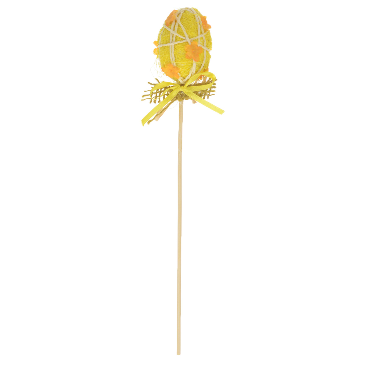 Декоративное украшение на ножке Home Queen Яйцо красивое, цвет: желтый, высота 20 смK100Декоративное украшение Home Queen Яйцо красивое выполнено из пенопласта в виде пасхального яйца на деревянной ножке, декорированного рельефными цветами. Изделие украшено лентой. Такое украшение прекрасно дополнит подарок для друзей или близких на Пасху. Высота: 20 см. Размер яйца: 5,5 см х 4,5 см.