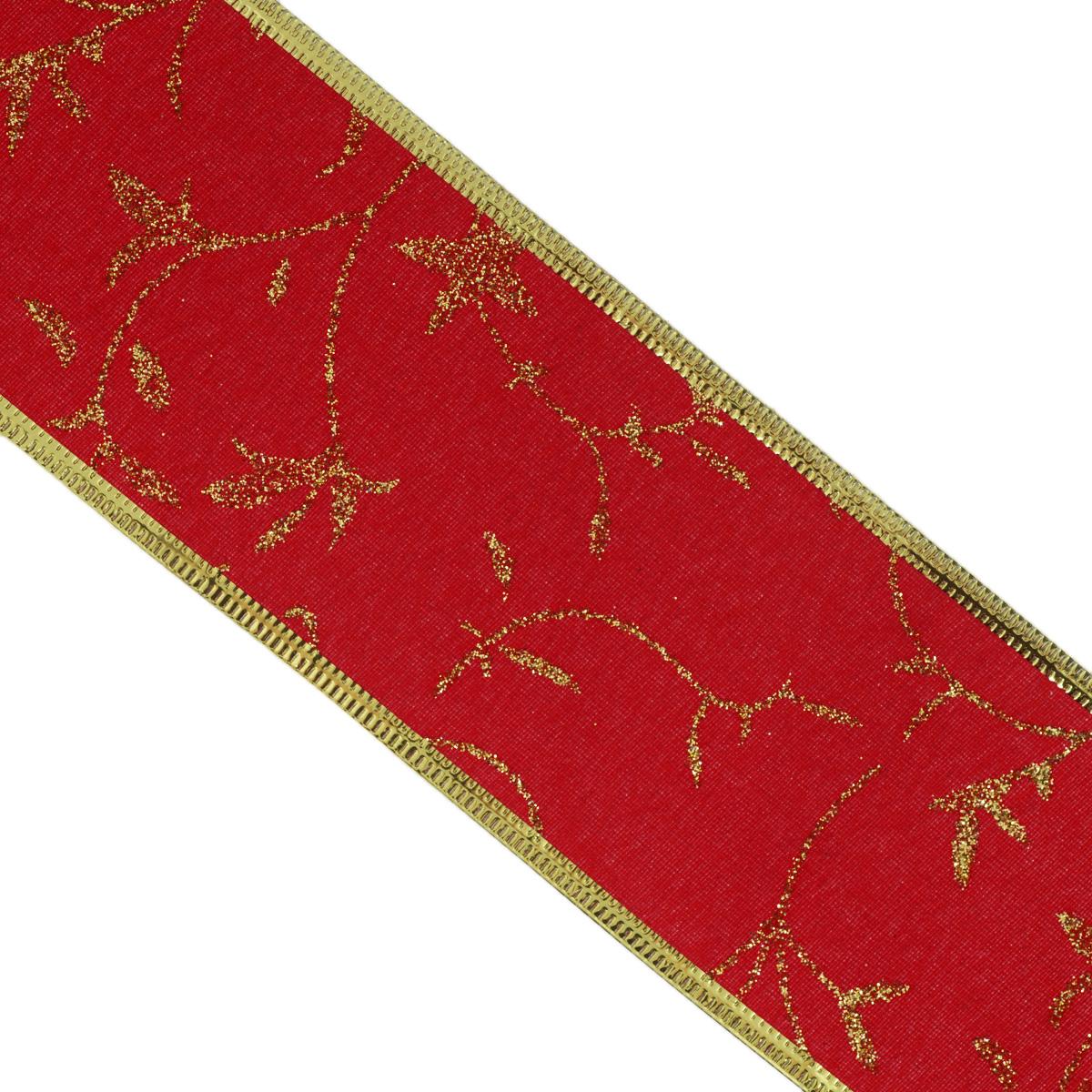 Декоративная лента Феникс-презент, цвет: красный, 2,7 м. 35391CP08883Декоративная лента Феникс-презент выполнена из полиэстера и декорирована оригинальным узором и блестками. В края ленты вставлена проволока, благодаря чему ее легко фиксировать. Лента предназначена для оформления подарочных коробок, пакетов. Кроме того, декоративная лента с успехом применяется для художественного оформления витрин, праздничного оформления помещений, изготовления искусственных цветов. Декоративная лента украсит интерьер вашего дома к любым праздникам.Ширина ленты: 6,3 см.