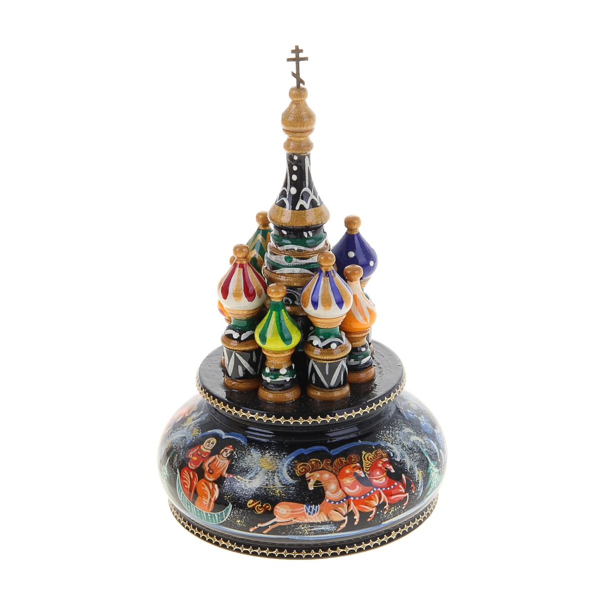 Фигурка декоративная Sima-land Храм, музыкальная, высота 21 см. 10799251079925Декоративная фигурка Sima-land Храм, выполненная из дерева в виде храма, покрыта лаком и оформлена красочными рисунками.Основание фигурки крутится и предназначено для завода музыкального механизма. Поверните основание фигурки, и она начнет медленно вращаться, и заиграет приятная мелодия. Декоративная музыкальна фигурка Sima-land Храм не оставит равнодушным ни одного любителя изысканных вещей и станет прекрасным подарком. Размер фигурки: 11 см х 11 см х 21 см.