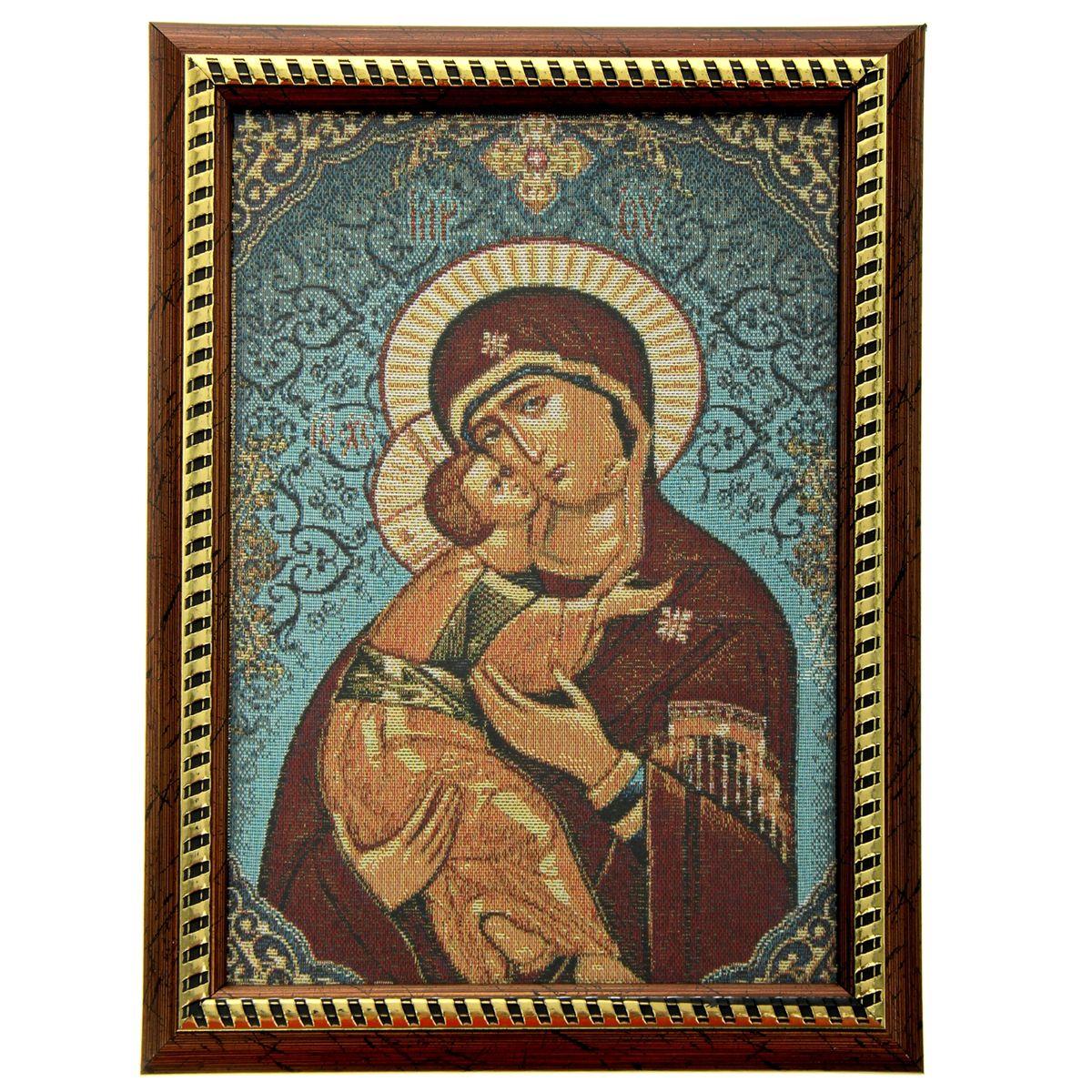 Икона в рамке Владимирская Божья Матерь, 21 х 27,5 смFS-91909Икона Владимирская Божья Матерь представляет собой святое изображение, вытканное на ткани и вставленное в деревянную рамку со стеклом. На обратной стороне иконы есть подставка, поэтому удобно располагать такую икону на столе. Икона полностью соответствует канонам Русской Православной Церкви. Икона выглядит по-настоящему богатой. Такая икона будет прекрасным подарком с духовной составляющей.
