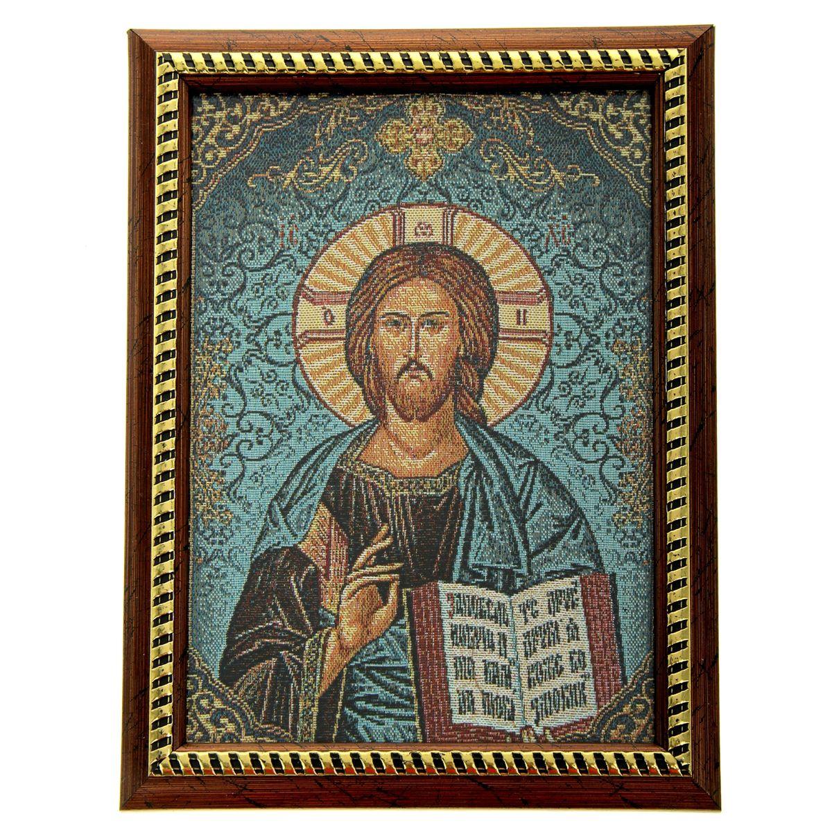 Икона в рамке Господь Вседержитель, 21 см х 27,5 см137006Икона Господь Вседержитель представляет собой святое изображение, вытканное на ткани и вставленное в деревянную рамку со стеклом. На обратной стороне иконы есть подставка, поэтому удобно располагать такую икону на столе. Икона полностью соответствует канонам Русской Православной Церкви. Икона выглядит по-настоящему богатой. Такая икона будет прекрасным подарком с духовной составляющей.