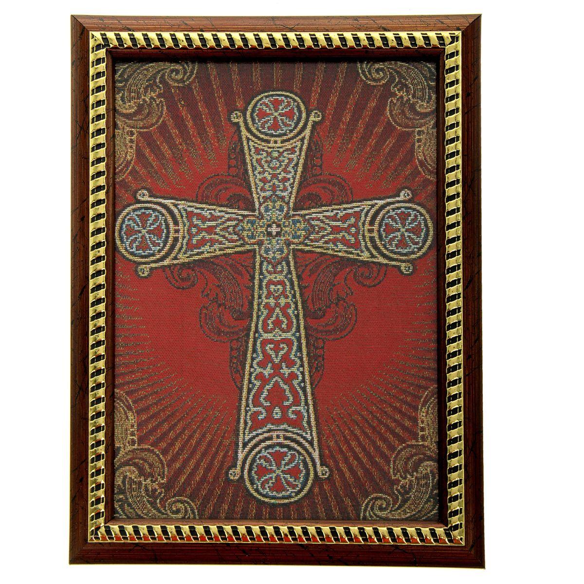 Икона в рамке Корсунский крест, 21 см х 27,5 см54 009312Икона Корсунский крест представляет собой святое изображение, вытканное на ткани и вставленное в деревянную рамку со стеклом. На обратной стороне иконы есть подставка, поэтому удобно располагать такую икону на столе. Икона полностью соответствует канонам Русской Православной Церкви. Икона выглядит по-настоящему богатой. Такая икона будет прекрасным подарком с духовной составляющей.