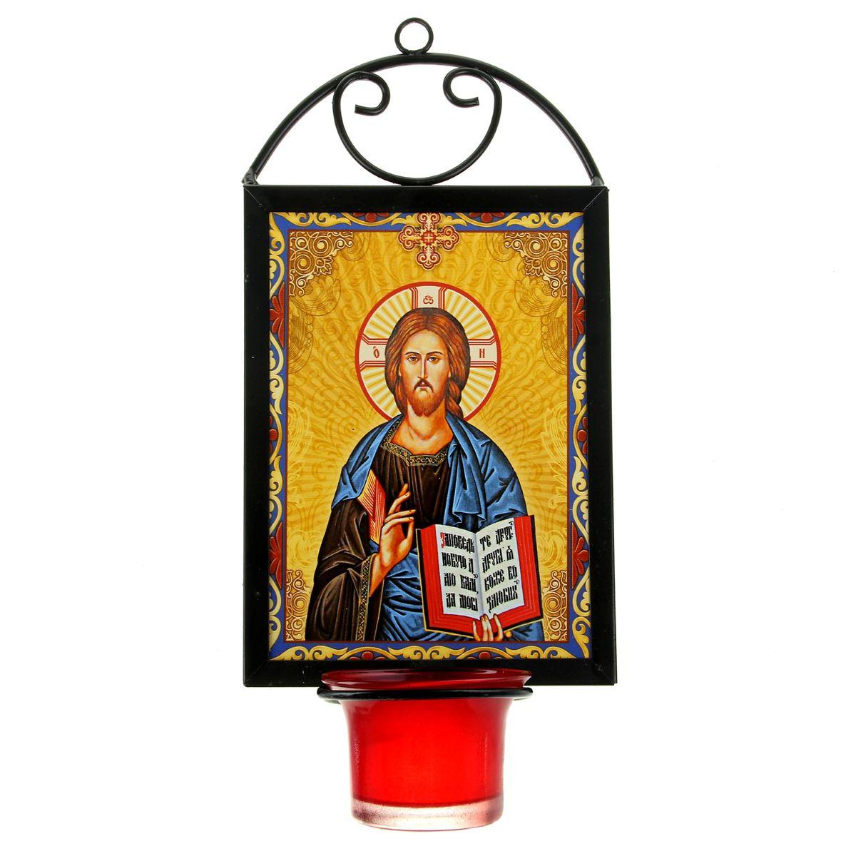 Икона Господь Вседержитель, с лампадой, 12 х 22 см54 009312Икона Господь Вседержитель выполнена из керамики в металлической рамке. Внизу рамки имеется отверстие для лампады, входящей в комплект. Изделие имеет петельку, благодаря которой икону удобно вешать на стену. Изображенный образ полностью соответствует канонам Русской Православной Церкви. Такая икона будет прекрасным подарком с духовной составляющей.