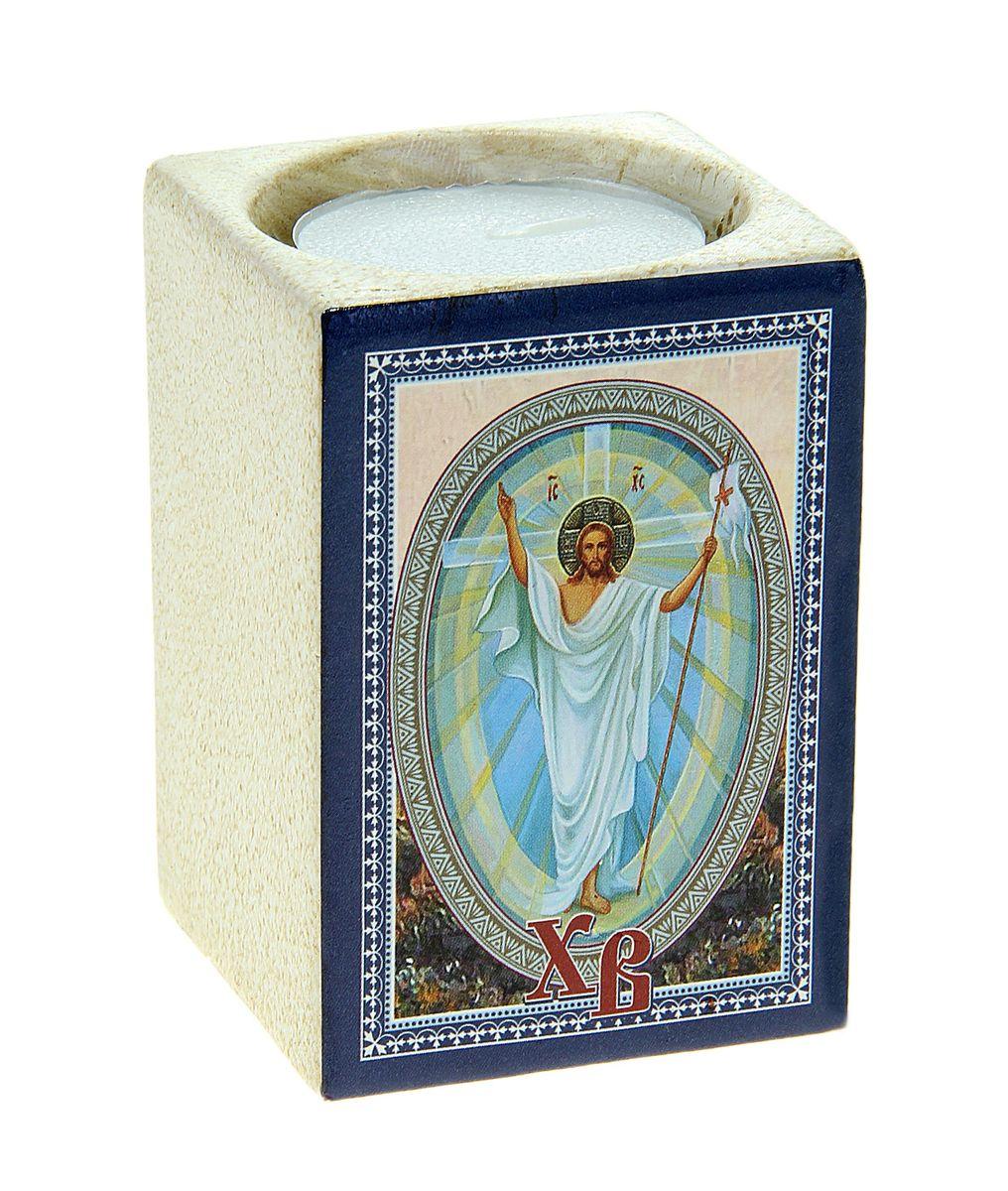 Подсвечник Sima-land Христос воскресший!, со свечойV4140/1SПодсвечник Sima-land Христос воскресший! изготовлен из качественной керамики, предназначен для свечи в гильзе. С одной стороны подсвечника изображен храм, с другой стороны написаны пожелания. Зажгите свечку поставьте ее в подсвечник и наслаждайтесь теплом, которое наполнит ваше сердце. В комплекте свеча. Такой подсвечник привнесет в ваш дом согласие и мир и будет прекрасным подарком, оберегающим близких вам людей. Размер подсвечника (ДхШхВ): 5 см х 5 см х 7 см.Диаметр отверстия для свечи: 4,5 см.
