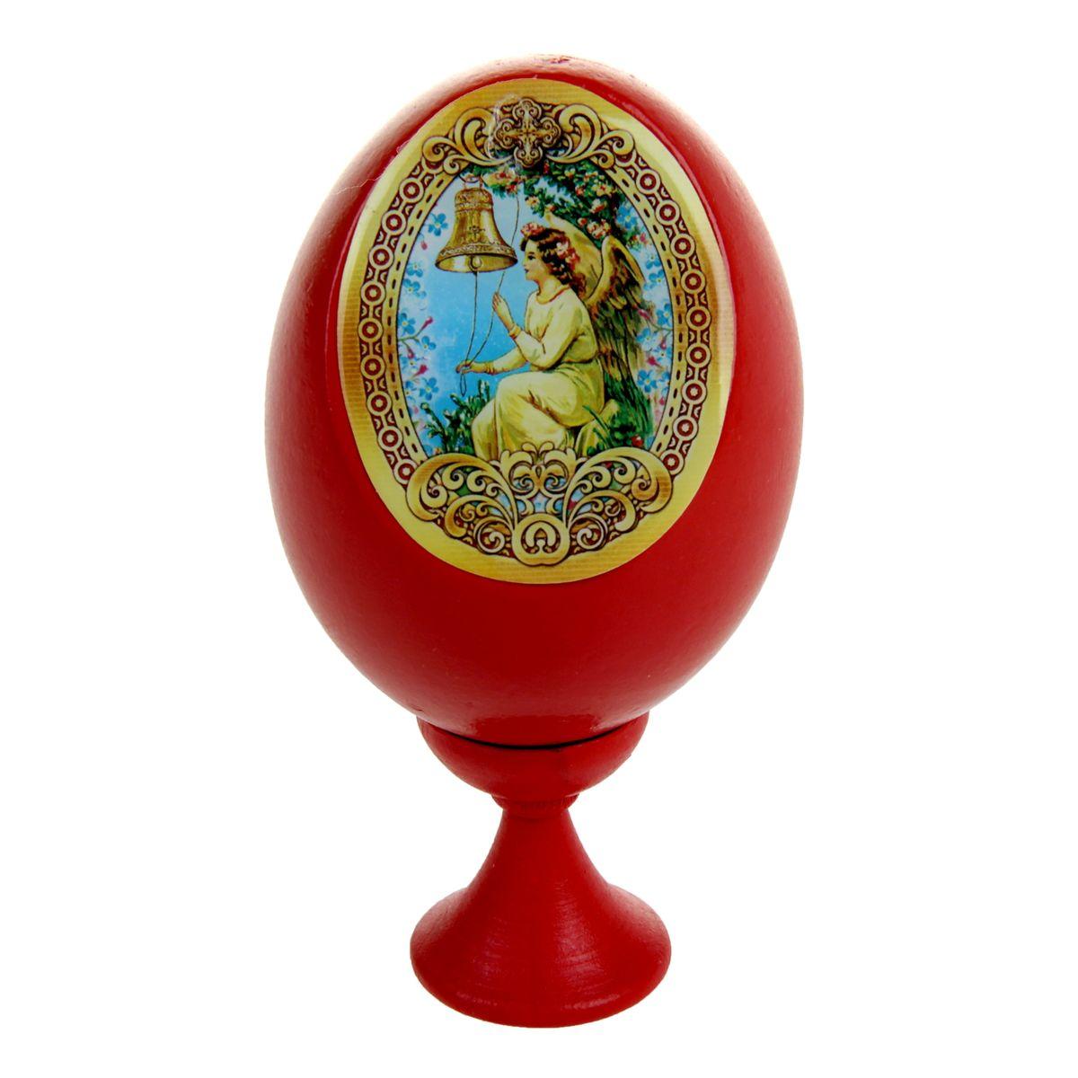 Яйцо декоративное Sima-land Европейский ангел, на подставке, высота 11 смБрелок для ключейДекоративное яйцо Sima-land Европейский ангел изготовлено из дерева. Яйцо оформлено яркой наклейкой с изображением ангела, покрытой смоляным слоем. Изделие располагается на деревянной подставке. Декоративное яйцо Sima-land Европейский ангел принесет в ваш дом ощущение торжества, душевного уюта и станет идеальным подарком на Пасху. Диаметр яйца: 5,5 см. Высота яйца: 8 см. Размер подставки: 3 см х 3 см х 3,5 см.