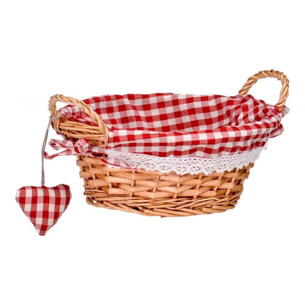 Корзинка для хлеба Premier, круглая, цвет: красный, 23 см х 23 см х 13 см1901052Круглая корзинка для хлеба Premier сплетена из лозы. На внутреннюю поверхность корзинки надет хлопковый чехол с рисунком в красную клетку, благодаря ему крошки не просыпаются на стол. Корзинка оснащена двумя удобными ручками и украшена текстильной подвеской в виде сердечка.В холодный зимний день приятная цветовая гамма корзинки в сочетании с оригинальным дизайном навевают воспоминания о лете, тем самым способствуя улучшению настроения и полноценному отдыху.Материал: лоза, хлопок.Размер корзинки (с учетом ручек) (ДхШхВ): 23 см х 23 см х 13 см.Размер корзинки (без учета ручек) (ДхШхВ): 23 см х 13 см х 10 см.
