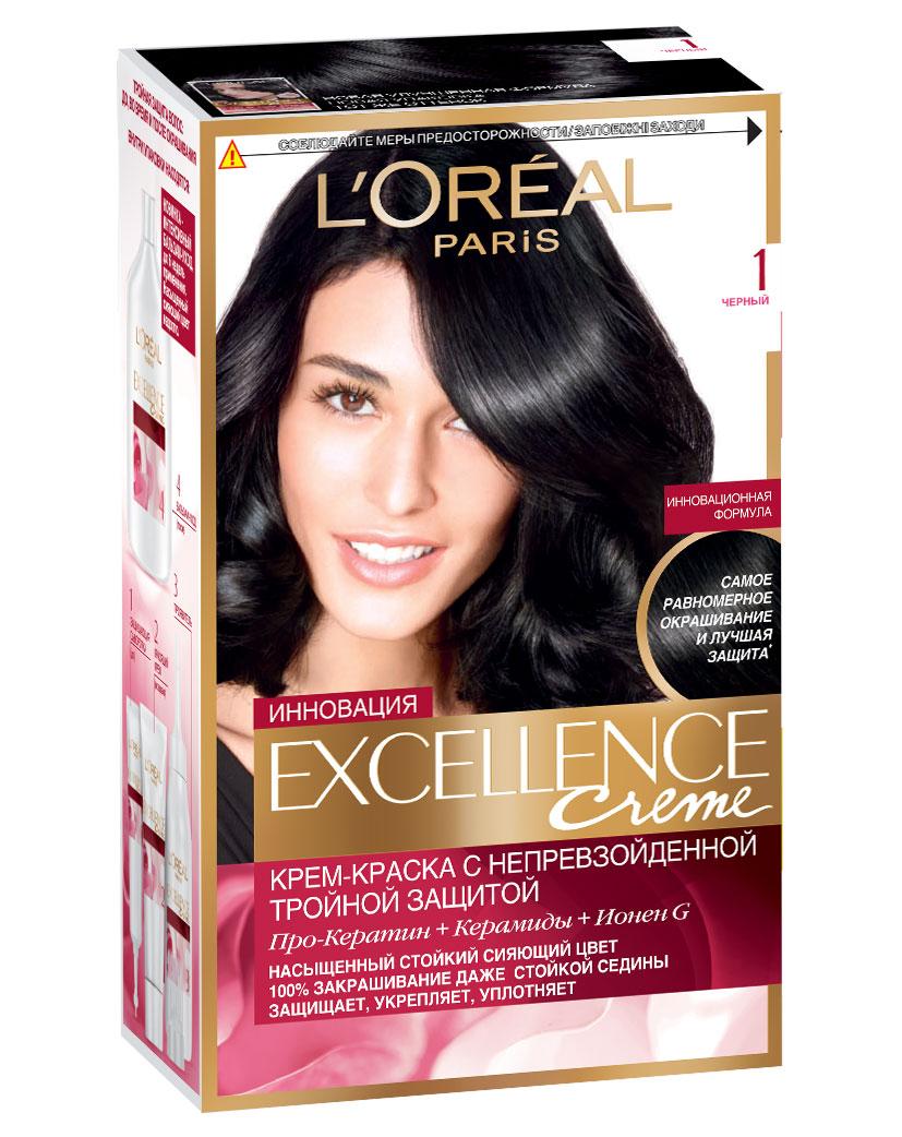 LOreal Paris Стойкая крем-краска для волос Excellence, оттенок 1, ЧёрныйA0691528Крем-краска для волос Экселанс защищает волосы до, во время и после окрашивания. Уникальная формула краскииз Керамида, Про-Кератина и активного компонента Ионена G, которые обеспечивают 100%-ное окрашивание седины и способствуют длительному сохранению интенсивности цвета. Сыворотка, входящая в состав краски, оказывает лечебное действие, восстанавливая поврежденные волосы, а густая кремовая текстура краски обволакивает каждый волос, насыщая его интенсивным цветом. Специальный бальзам-уход делает волосы плотнее, укрепляет их, восстанавливая естественную эластичность и силу волос.В состав упаковки входит: защищающая сыворотка (12 мл), флакон-аппликатор с проявителем (72 мл), тюбик с красящим кремом (48 мл), флакон с бальзамом-уходом (60 мл), аппликатор-расческа, инструкция, пара перчаток.1. Укрепляет волосы 2. Защищает их 3. Придает волосам упругость 3. Насыщеннный стойкий сияющий цвет 4. Закрашивает до 100% седых волос