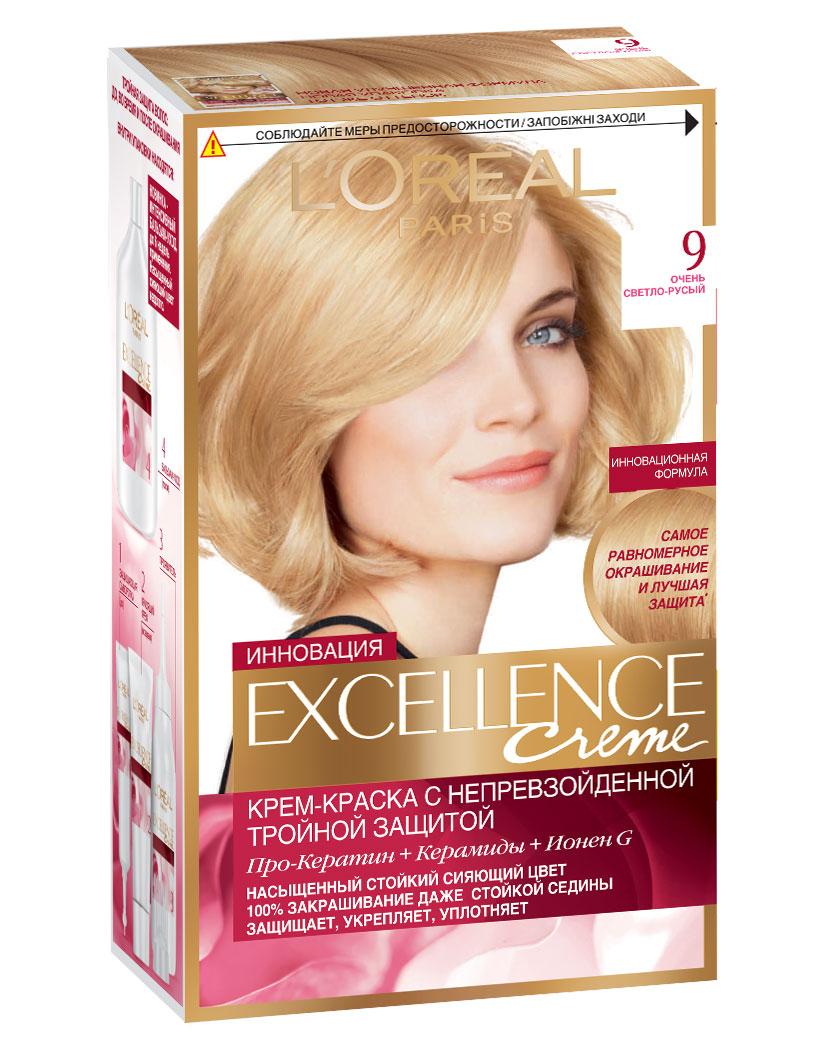 LOreal Paris Стойкая крем-краска для волос Excellence, оттенок 9, Очень светло-русый9353220Крем-краска для волос Экселанс защищает волосы до, во время и после окрашивания. Уникальная формула краскииз Керамида, Про-Кератина и активного компонента Ионена G, которые обеспечивают 100%-ное окрашивание седины и способствуют длительному сохранению интенсивности цвета. Сыворотка, входящая в состав краски, оказывает лечебное действие, восстанавливая поврежденные волосы, а густая кремовая текстура краски обволакивает каждый волос, насыщая его интенсивным цветом. Специальный бальзам-уход делает волосы плотнее, укрепляет их, восстанавливая естественную эластичность и силу волос.В состав упаковки входит: защищающая сыворотка (12 мл), флакон-аппликатор с проявителем (72 мл), тюбик с красящим кремом (48 мл), флакон с бальзамом-уходом (60 мл), аппликатор-расческа, инструкция, пара перчаток.