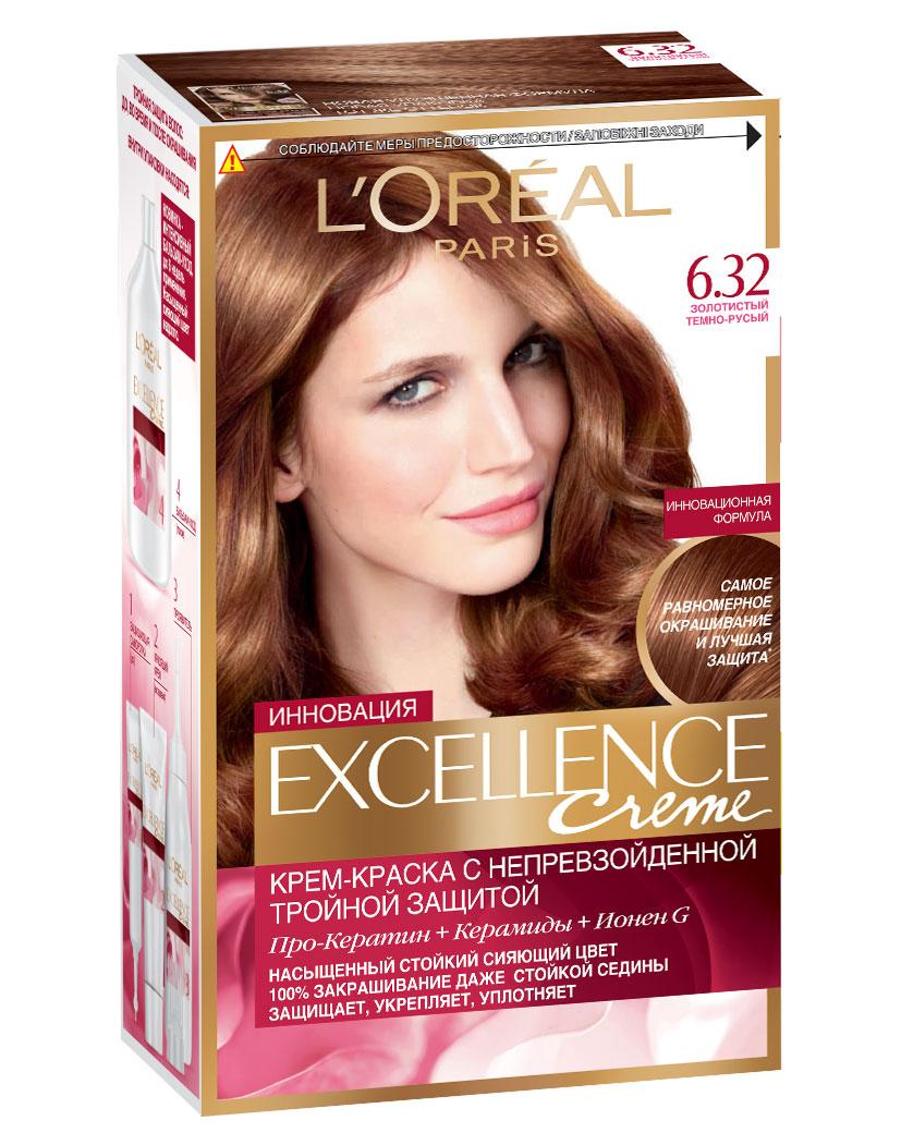 LOreal Paris Стойкая крем-краска для волос Excellence, оттенок 6.32, Золотистый темно-русый33248Крем-краска для волос Экселанс защищает волосы до, во время и после окрашивания. Уникальная формула краскииз Керамида, Про-Кератина и активного компонента Ионена G, которые обеспечивают 100%-ное окрашивание седины и способствуют длительному сохранению интенсивности цвета. Сыворотка, входящая в состав краски, оказывает лечебное действие, восстанавливая поврежденные волосы, а густая кремовая текстура краски обволакивает каждый волос, насыщая его интенсивным цветом. Специальный бальзам-уход делает волосы плотнее, укрепляет их, восстанавливая естественную эластичность и силу волос.В состав упаковки входит: защищающая сыворотка (12 мл), флакон-аппликатор с проявителем (72 мл), тюбик с красящим кремом (48 мл), флакон с бальзамом-уходом (60 мл), аппликатор-расческа, инструкция, пара перчаток.