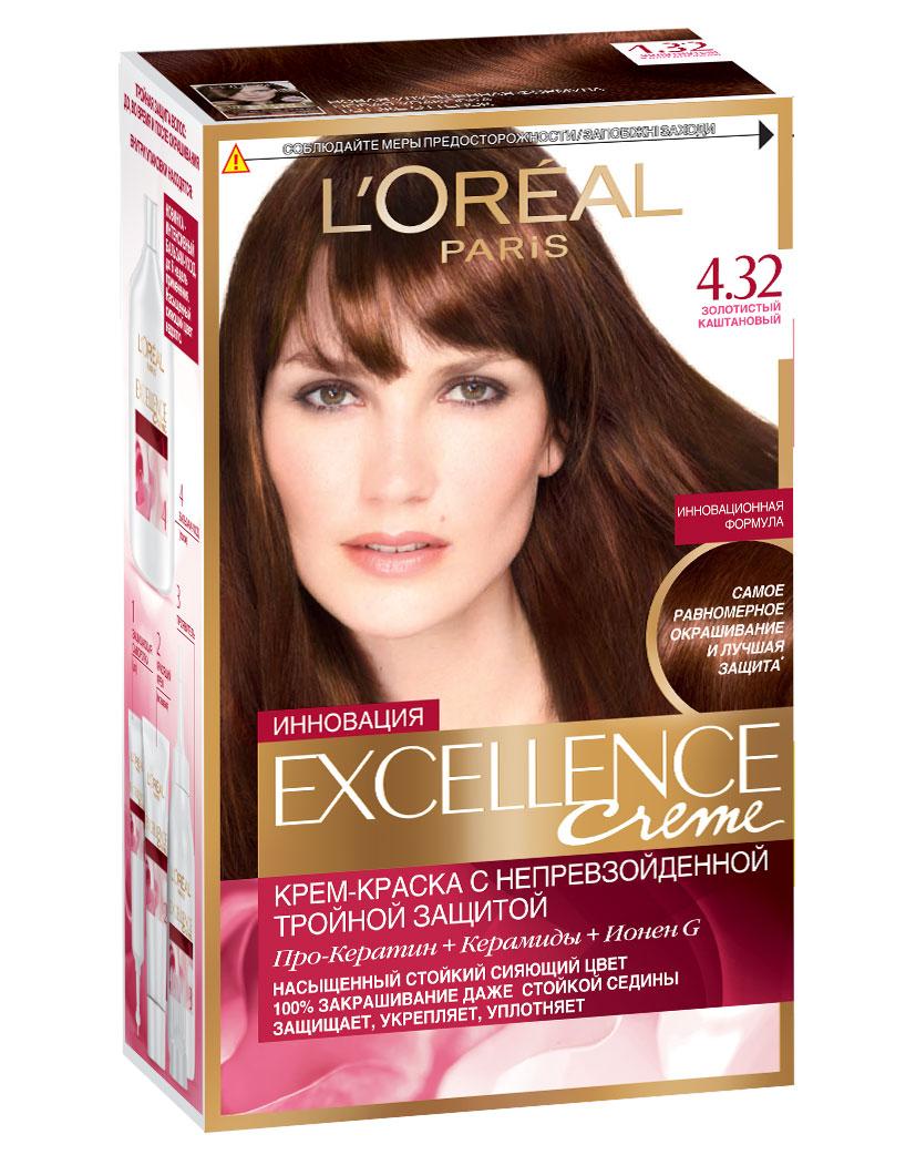 LOreal Paris Стойкая крем-краска для волос Excellence, оттенок 4.32, Золотистый каштановыйA7140628Крем-краска для волос Экселанс защищает волосы до, во время и после окрашивания. Уникальная формула краскииз Керамида, Про-Кератина и активного компонента Ионена G, которые обеспечивают 100%-ное окрашивание седины и способствуют длительному сохранению интенсивности цвета. Сыворотка, входящая в состав краски, оказывает лечебное действие, восстанавливая поврежденные волосы, а густая кремовая текстура краски обволакивает каждый волос, насыщая его интенсивным цветом. Специальный бальзам-уход делает волосы плотнее, укрепляет их, восстанавливая естественную эластичность и силу волос.В состав упаковки входит: защищающая сыворотка (12 мл), флакон-аппликатор с проявителем (72 мл), тюбик с красящим кремом (48 мл), флакон с бальзамом-уходом (60 мл), аппликатор-расческа, инструкция, пара перчаток.1. Укрепляет волосы 2. Защищает их 3. Придает волосам упругость 3. Насыщеннный стойкий сияющий цвет 4. Закрашивает до 100% седых волос