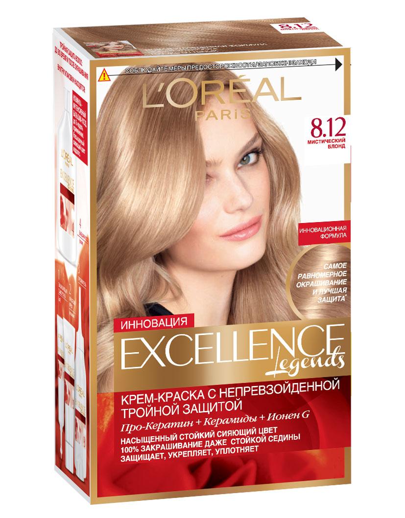 LOreal Paris Стойкая крем-краска для волос Excellence, оттенок 8.12, Мистический блондC4971400Крем-краска для волос Экселанс защищает волосы до, во время и после окрашивания. Уникальная формула краскииз Керамида, Про-Кератина и активного компонента Ионена G, которые обеспечивают 100%-ное окрашивание седины и способствуют длительному сохранению интенсивности цвета. Сыворотка, входящая в состав краски, оказывает лечебное действие, восстанавливая поврежденные волосы, а густая кремовая текстура краски обволакивает каждый волос, насыщая его интенсивным цветом. Специальный бальзам-уход делает волосы плотнее, укрепляет их, восстанавливая естественную эластичность и силу волос.В состав упаковки входит: защищающая сыворотка (12 мл), флакон-аппликатор с проявителем (72 мл), тюбик с красящим кремом (48 мл), флакон с бальзамом-уходом (60 мл), аппликатор-расческа, инструкция, пара перчаток.
