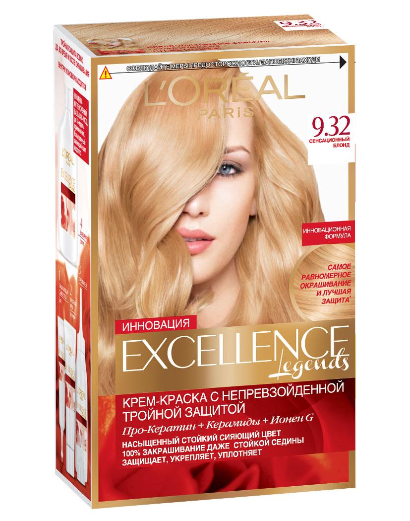 LOreal Paris Стойкая крем-краска для волос Excellence, оттенок 9.32, Сенсационный блондA7809128Крем-краска для волос Экселанс защищает волосы до, во время и после окрашивания. Уникальная формула краскииз Керамида, Про-Кератина и активного компонента Ионена G, которые обеспечивают 100%-ное окрашивание седины и способствуют длительному сохранению интенсивности цвета. Сыворотка, входящая в состав краски, оказывает лечебное действие, восстанавливая поврежденные волосы, а густая кремовая текстура краски обволакивает каждый волос, насыщая его интенсивным цветом. Специальный бальзам-уход делает волосы плотнее, укрепляет их, восстанавливая естественную эластичность и силу волос.В состав упаковки входит: защищающая сыворотка (12 мл), флакон-аппликатор с проявителем (72 мл), тюбик с красящим кремом (48 мл), флакон с бальзамом-уходом (60 мл), аппликатор-расческа, инструкция, пара перчаток.